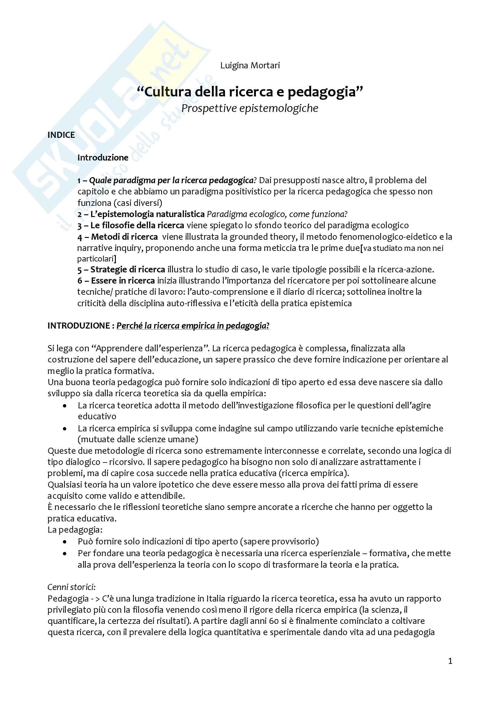 Riassunto esame metodologia della ricerca pedagogica, prof. Girelli, libro consigliato Cultura della ricerca e pedagogia di Mortari