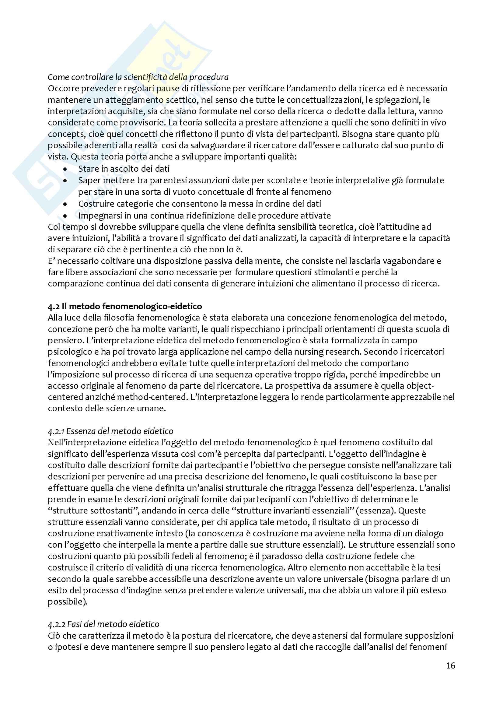 Riassunto esame metodologia della ricerca pedagogica, prof. Girelli, libro consigliato Cultura della ricerca e pedagogia di Mortari Pag. 16