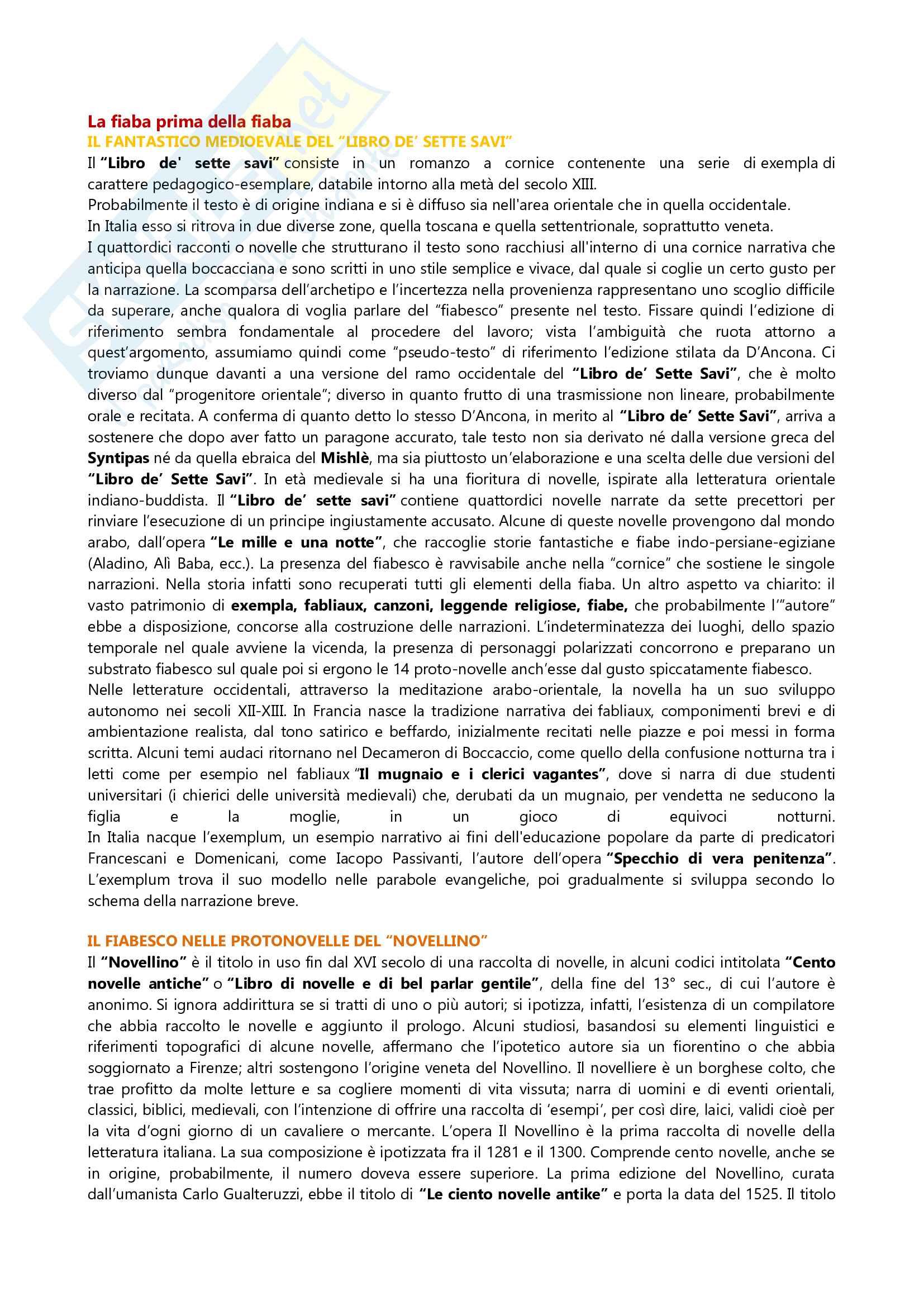 Riassunto esame Letteratura Italiana, prof. Scrivano, libro consigliato La fiaba prima della fiaba, Diafani, Scrivano, Vitali