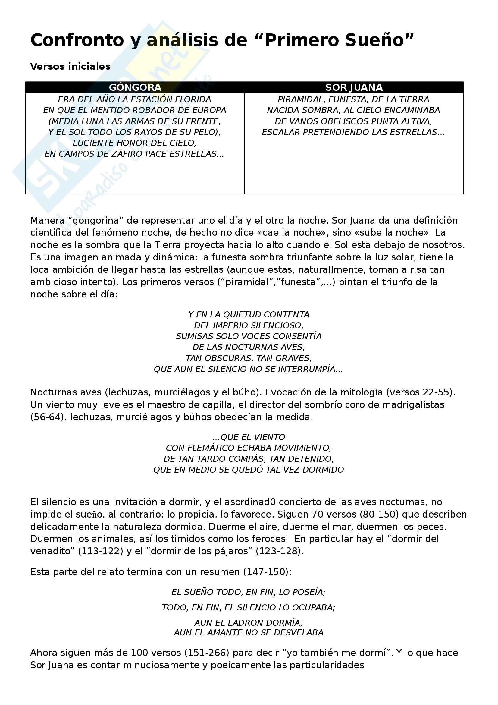 Letteratura spagnola - Analisis y confronto entre Gongora y Sor Juana
