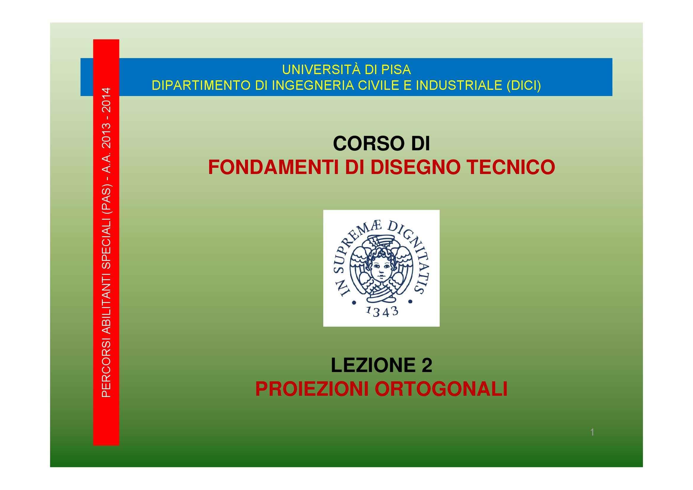 Proiezioni ortogonali, Dispensa di Disegno Tecnico