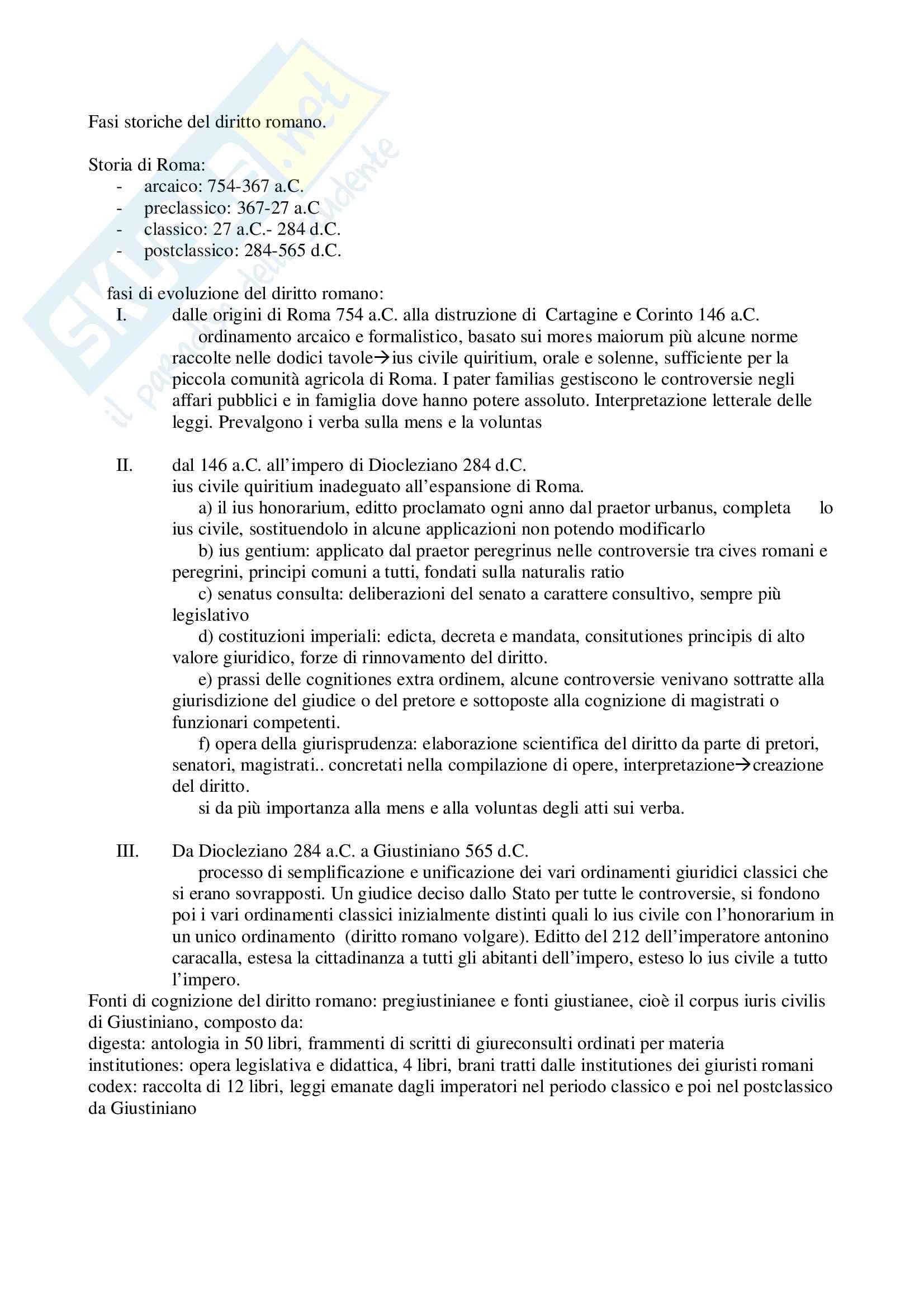 Riassunto esame Istituzioni di Diritto Romano, prof. Russo, libro consigliato Istituzioni di Diritto Romano, Sanfilippo