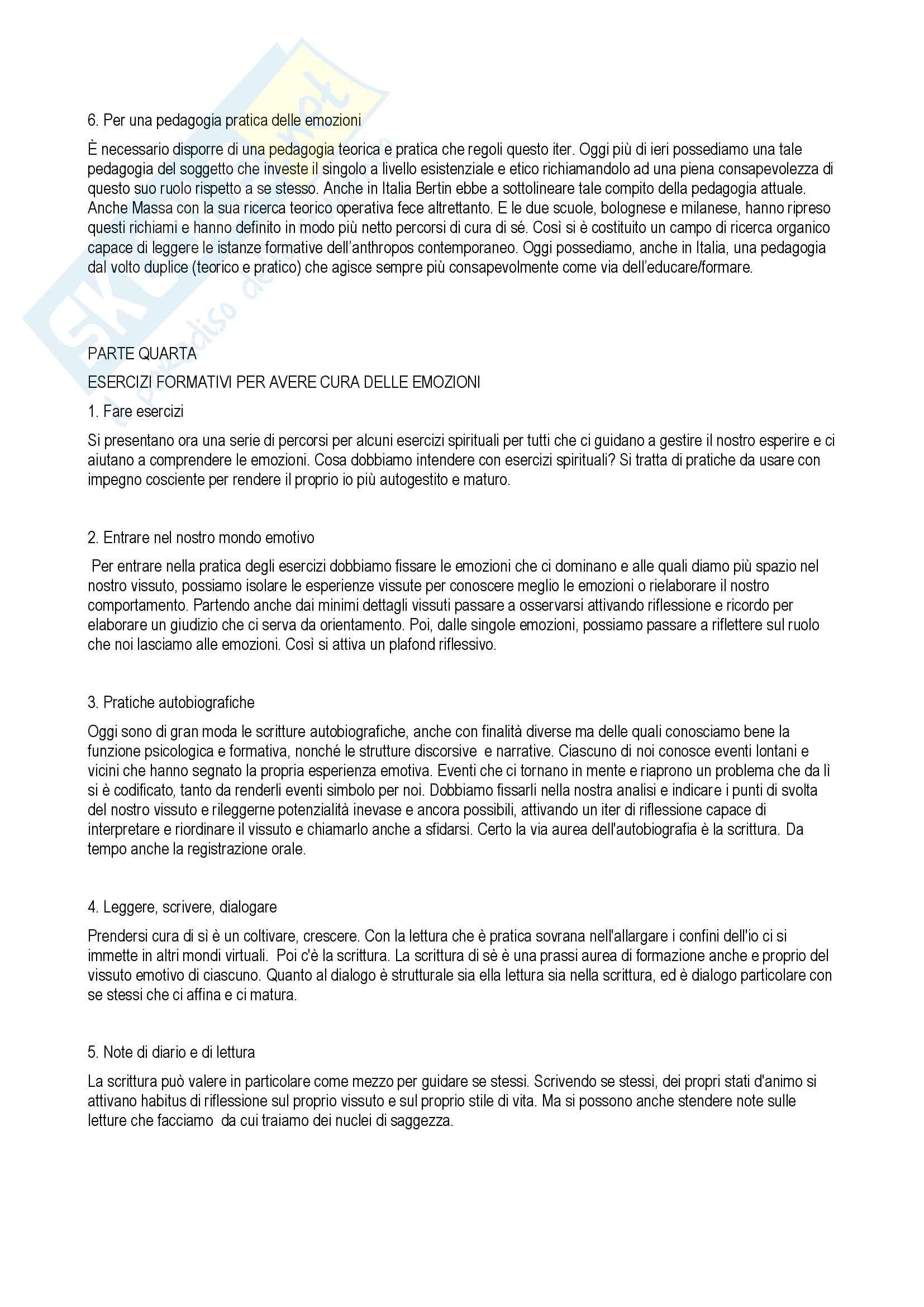 """Riassunto esame Pedagogia della famiglia, docente Certini, libro consigliato """" La forza delle emozioni: per la cura di sé""""  autore Franco Cambi Pag. 6"""