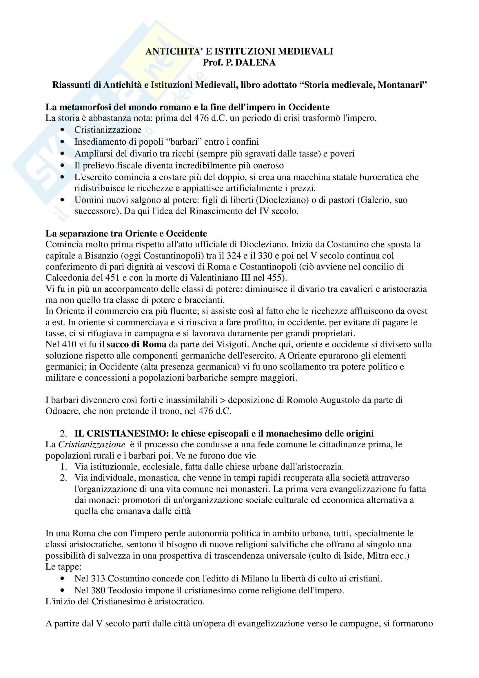Riassunto esame Antichità e istituzioni medievali, prof. Dalena, libro consigliato Storia medievale, Montanari