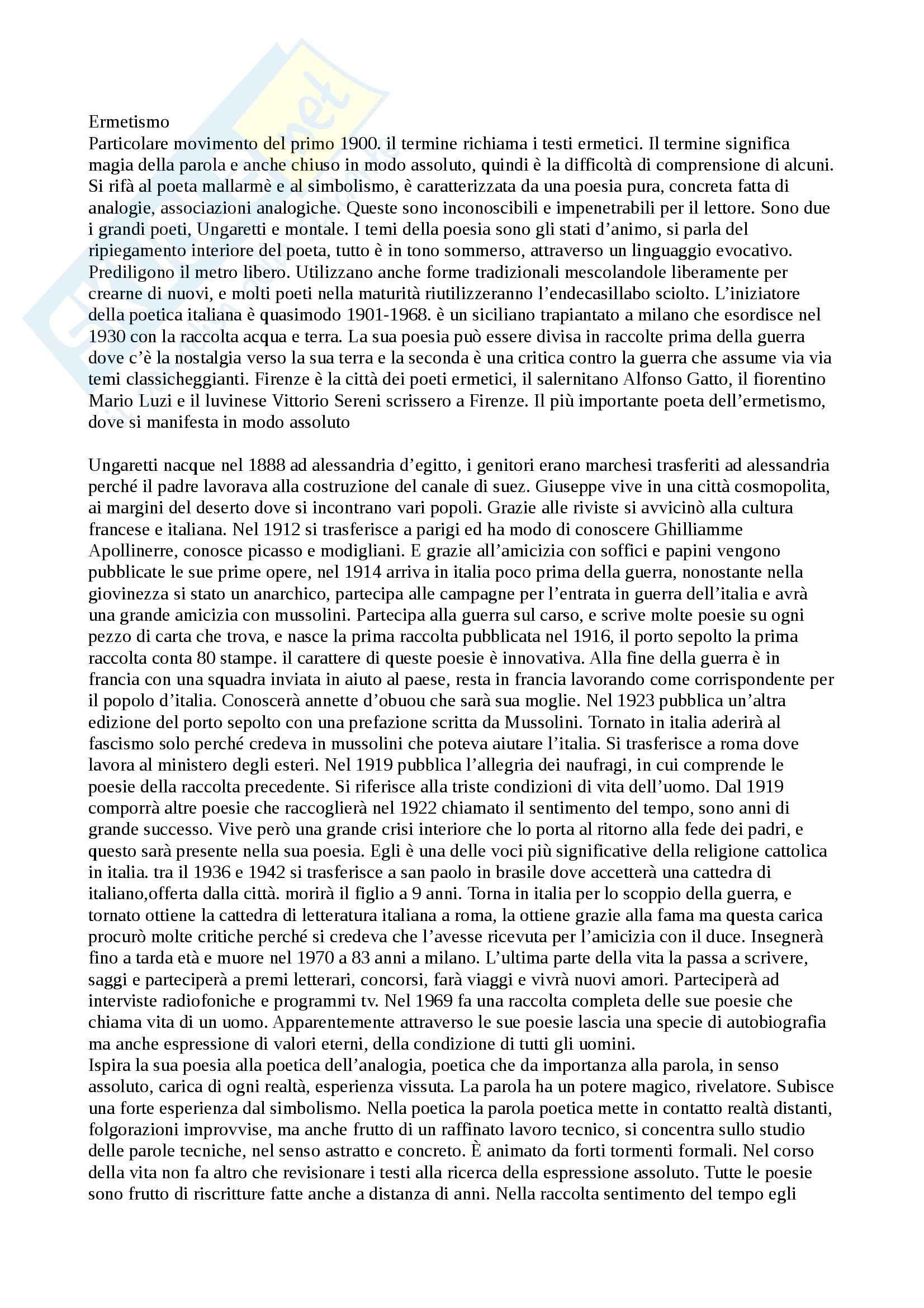 Ermetismo - Appunti