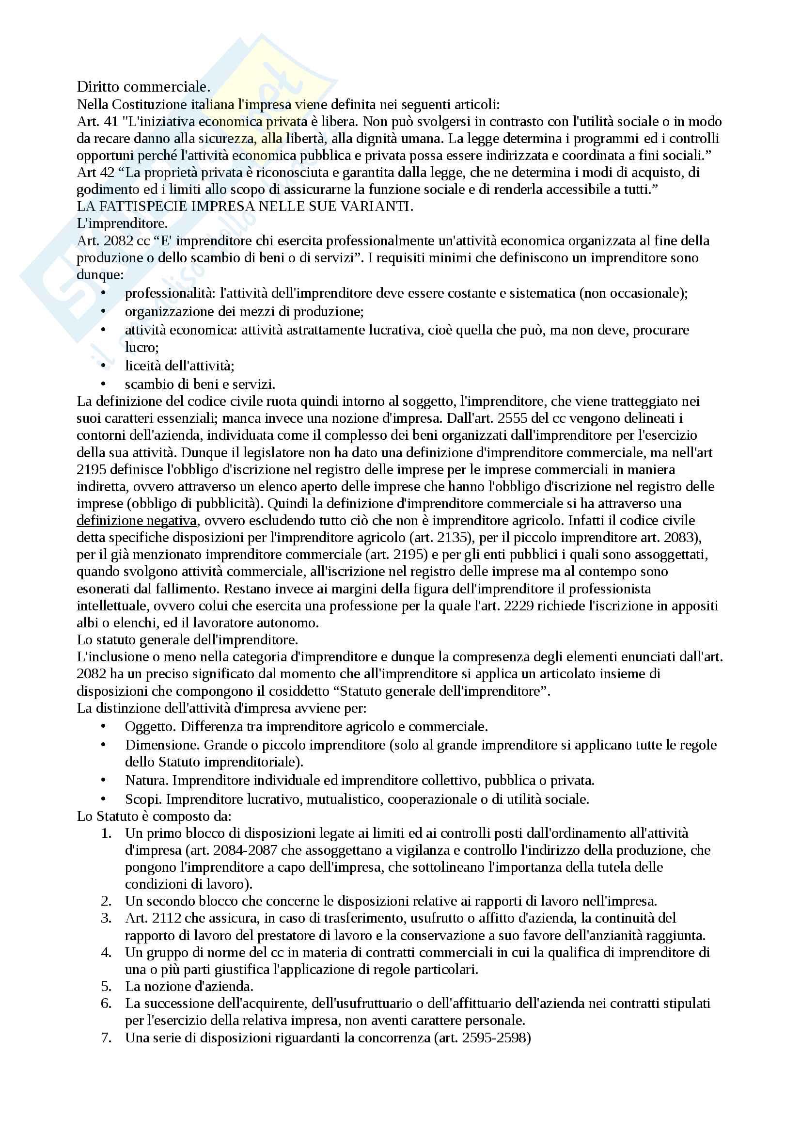 Riassunto esame Diritto commerciale, prof Aiello Marco, libro consigliato Lineamenti di diritto commerciale di Gastone Cottino