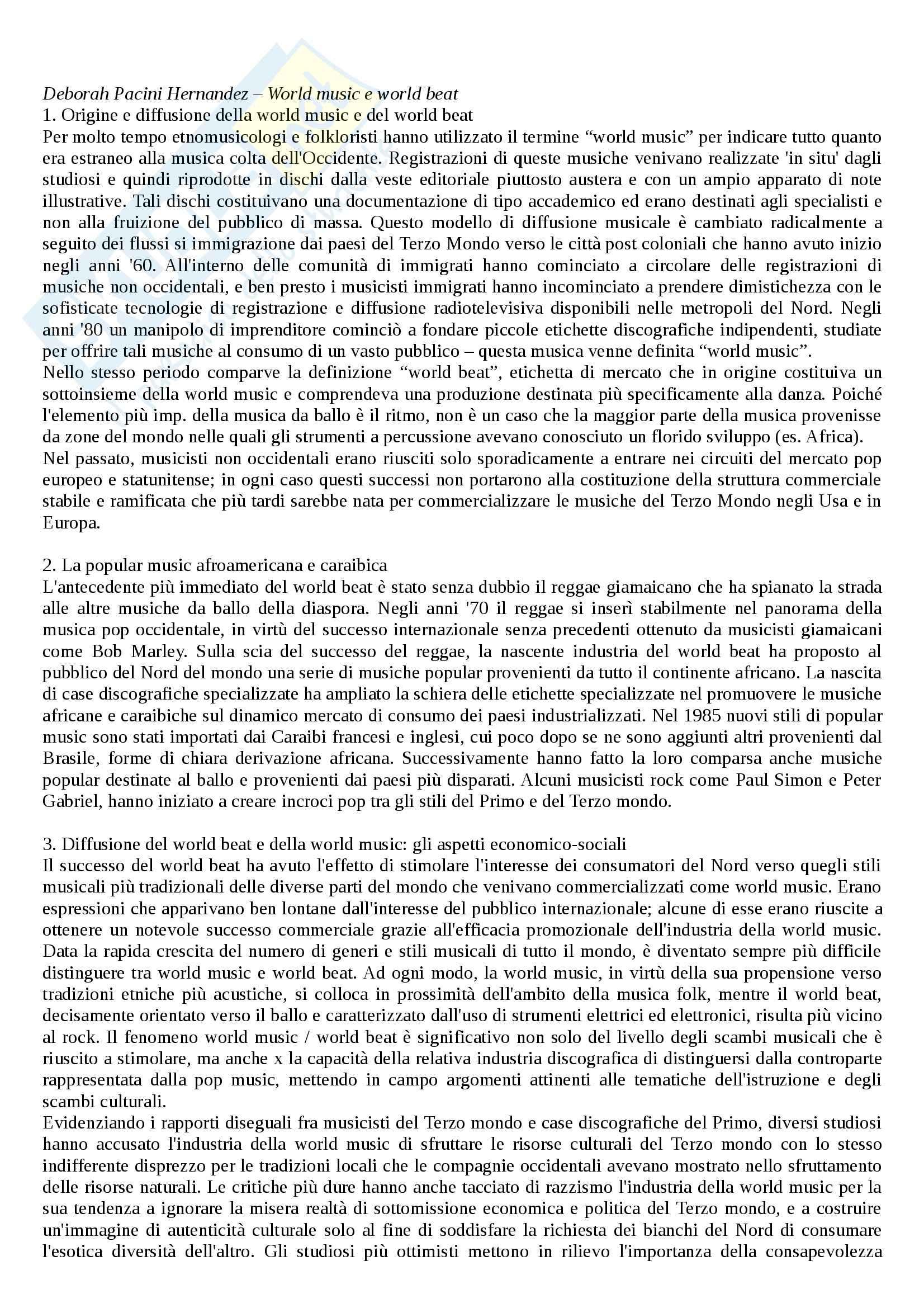 Riassunto esame Etnomusicologia, prof. Agamennone, libro consigliato Enciclopedia della musica, Nattiez