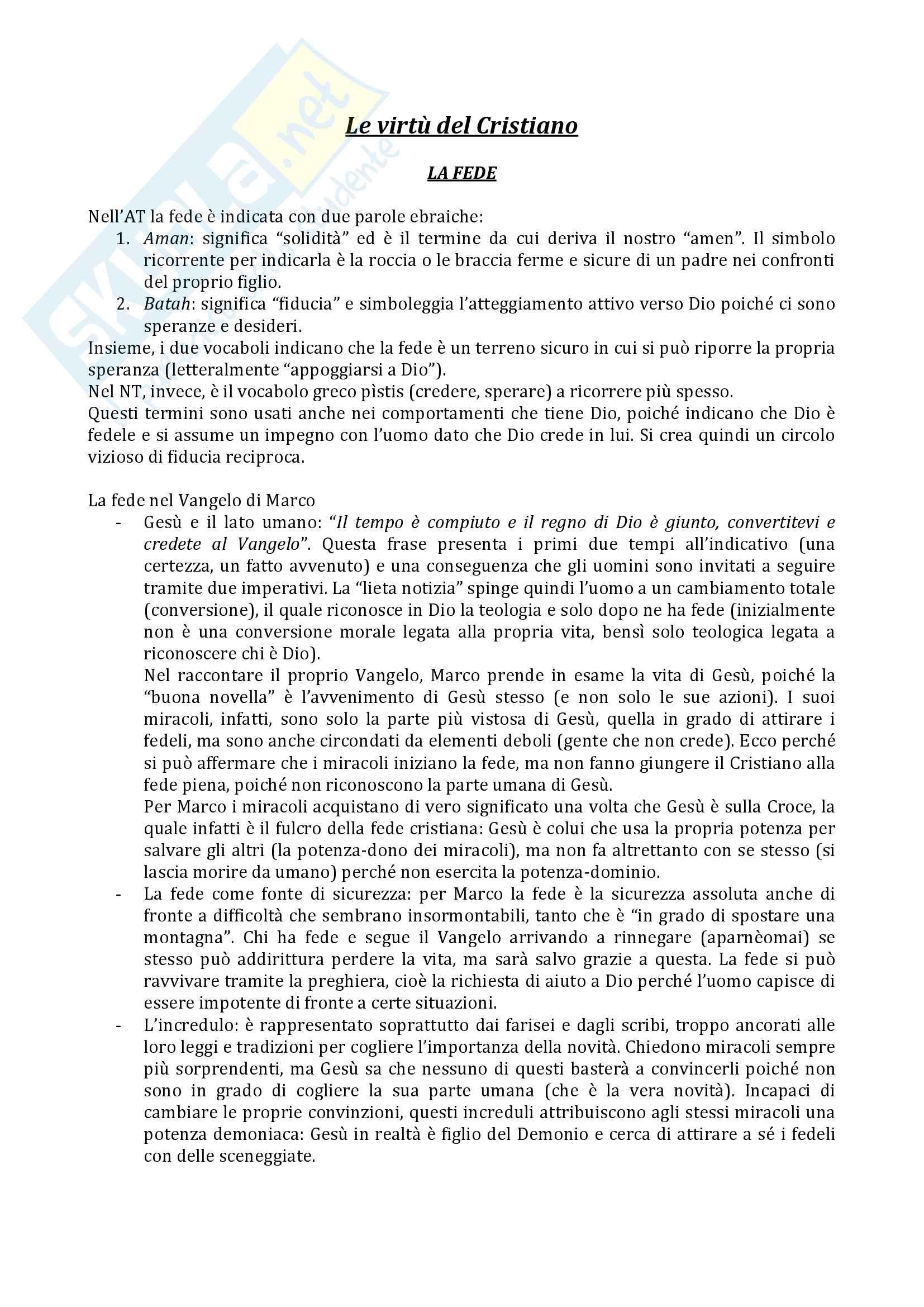 Riassunto esame Teologia 3, Prof.ssa Varsalona, libro consigliato Le virtù del cristiano, Bruno Maggioni