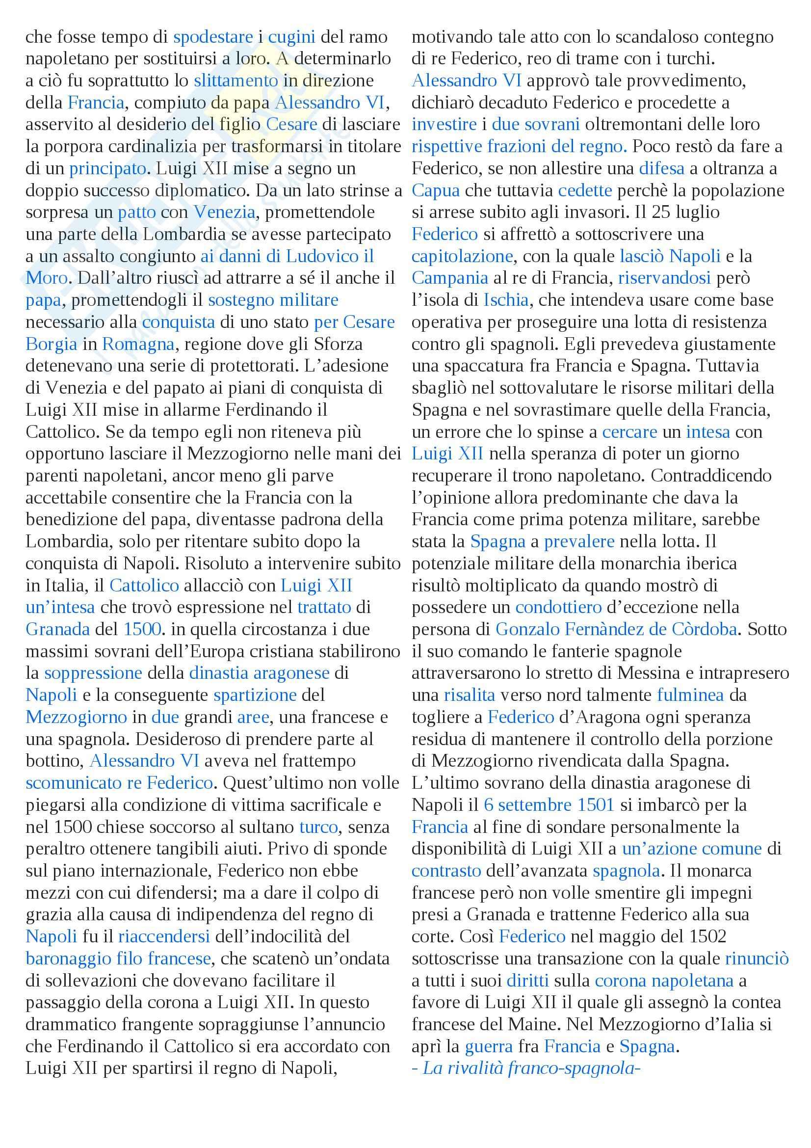 Riassunto esame Storia moderna, prof. Pellegrini, libro consigliato Le guerre d'Italia Pag. 11