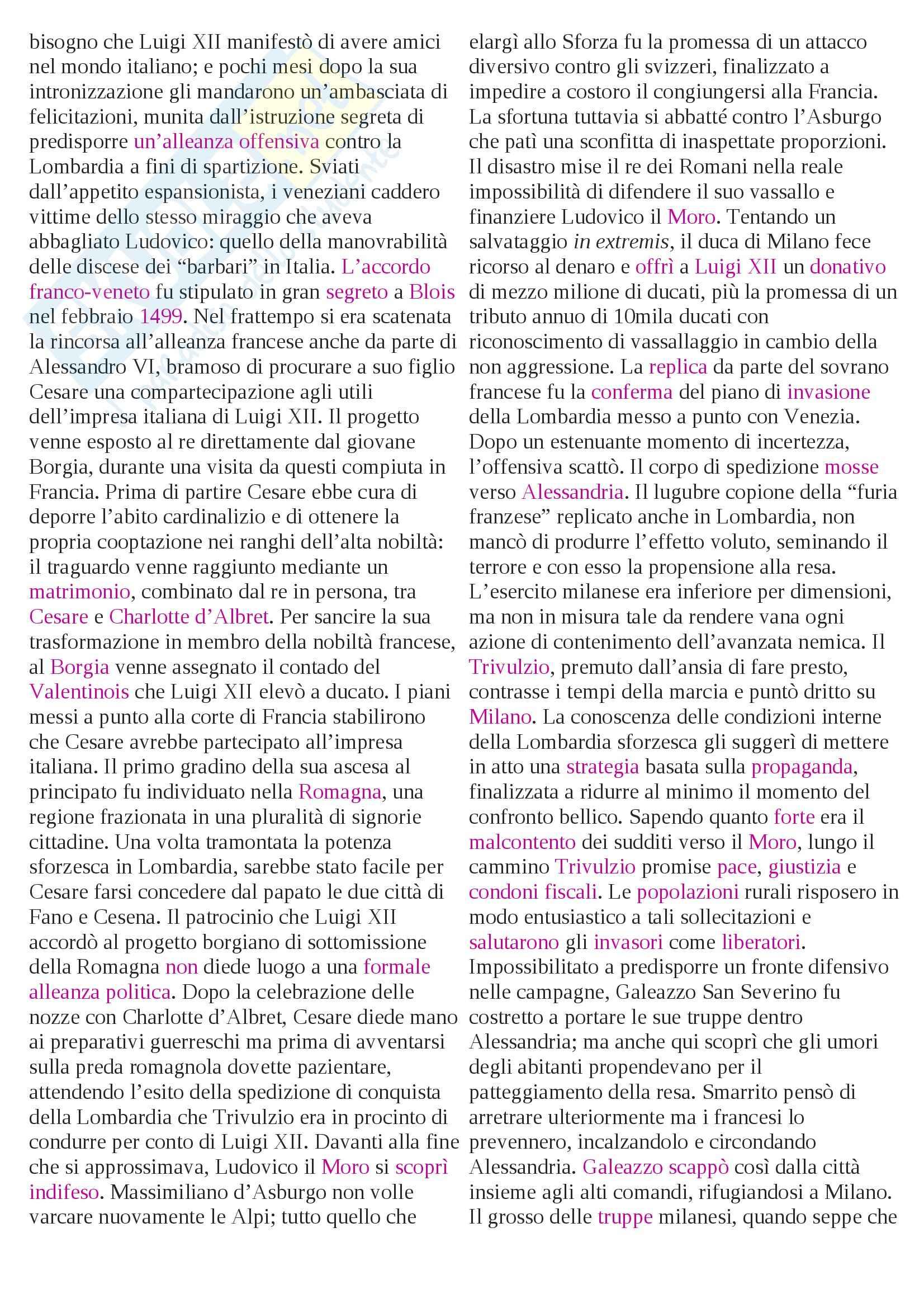Riassunto esame Storia moderna, prof. Pellegrini, libro consigliato Le guerre d'Italia Pag. 16