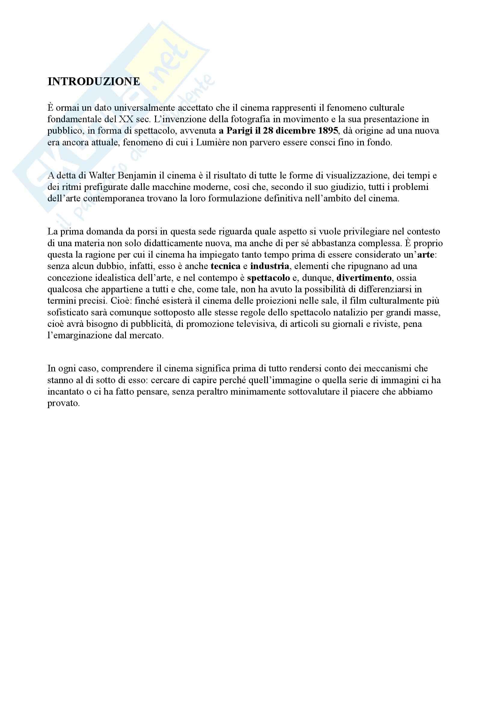 Riassunto esame Storia e critica del cinema, prof. Campari, libro consigliato Cinema, generi, tecniche e autori, Campari