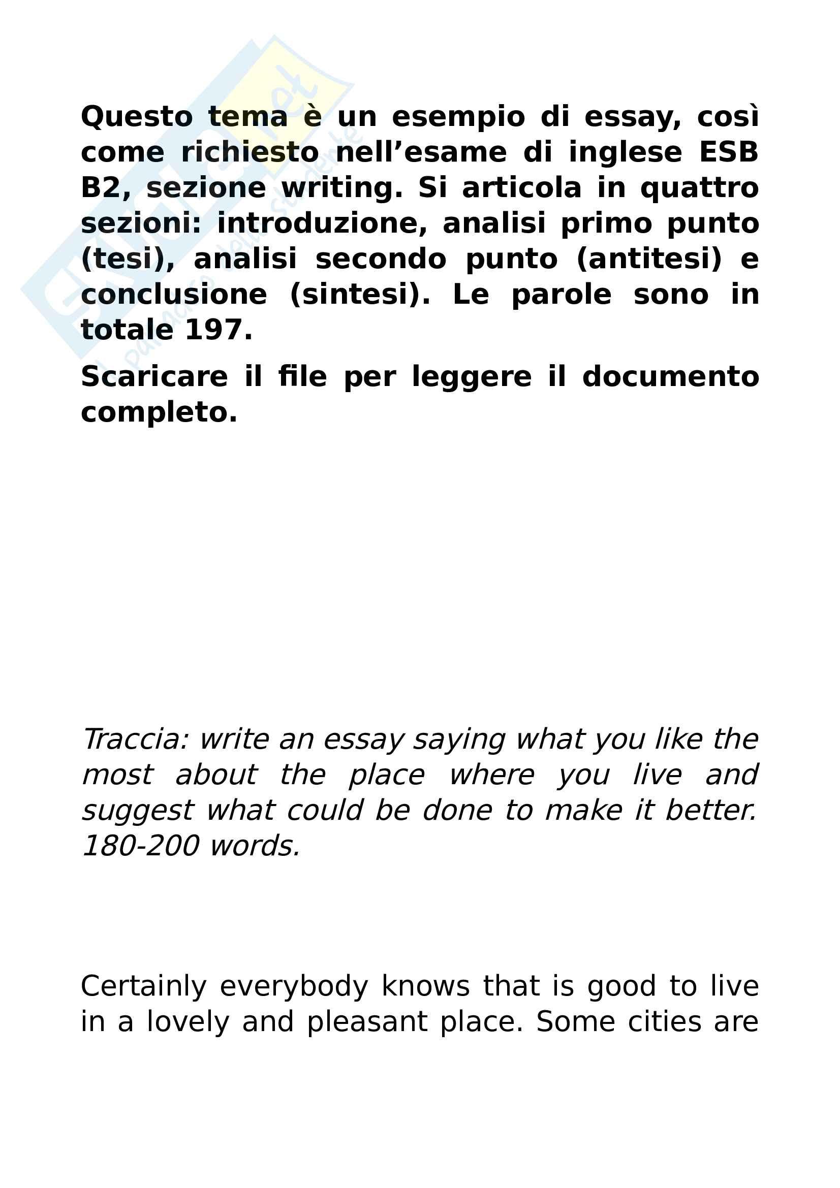 Essay esame inglese ESB B2