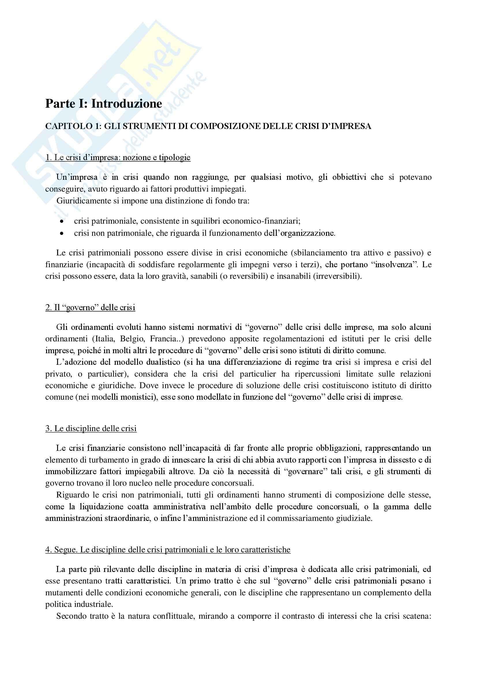 Riassunto esame Diritto delle crisi d'impresa, prof. Arato, libro consigliato Nigro, Vattermoli
