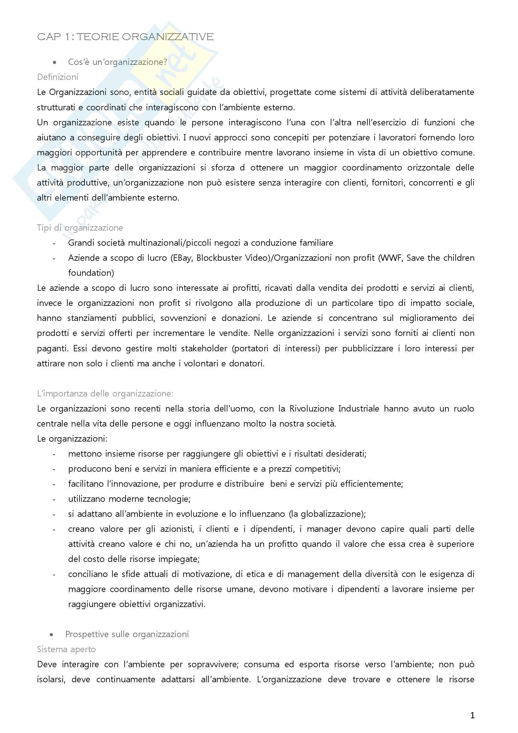 Riassunto esame Organizzazione aziendale, prof. Imperatori, libro consigliato Organizzazione aziendale, Daft