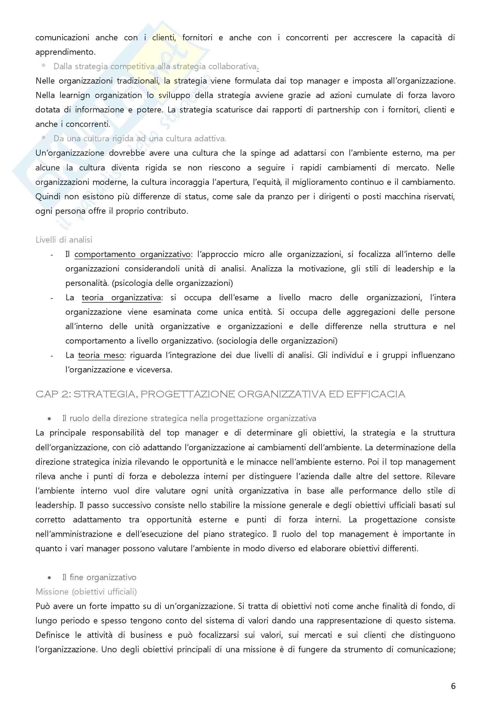 Riassunto esame Organizzazione aziendale, prof. Imperatori, libro consigliato Organizzazione aziendale, Daft Pag. 6