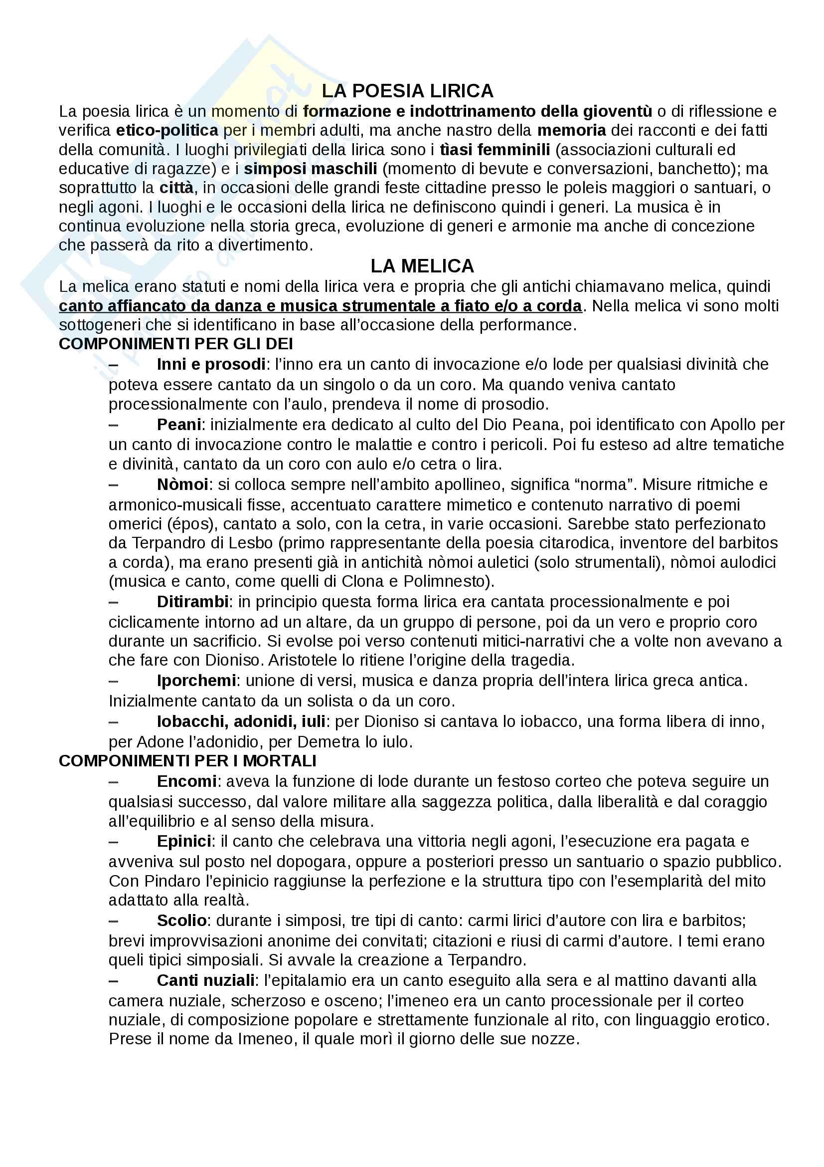 """Riassunto esame Storia della musica greca, prof. Meriani, libro consigliato """"La lirica greca"""" C. Neri, Carocci editore"""