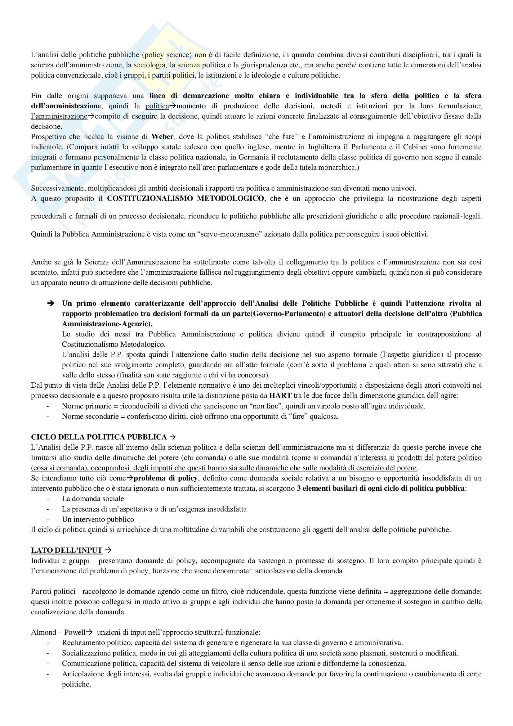 Riassunto esame Analisi delle Politiche Pubbliche, prof. Ieraci, libro consigliato Analisi delle Politiche Pubbliche