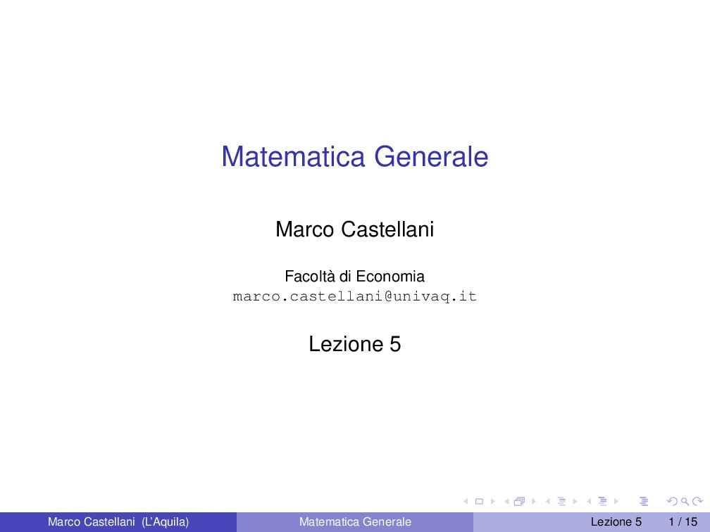 Funzioni lineari, affini, quadratiche