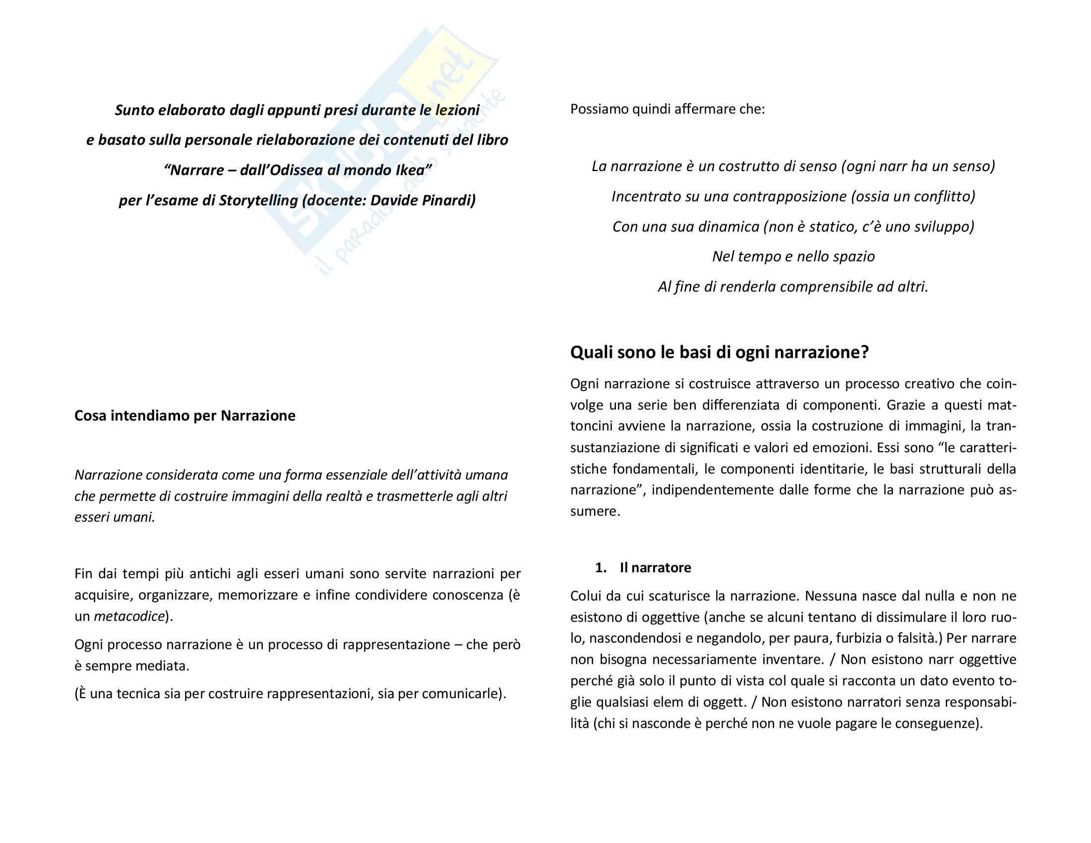 Riassunto esame Storytelling, prof. Pinardi, libro consigliato Narrare - dall'Odissea al mondo Ikea, Pinardi