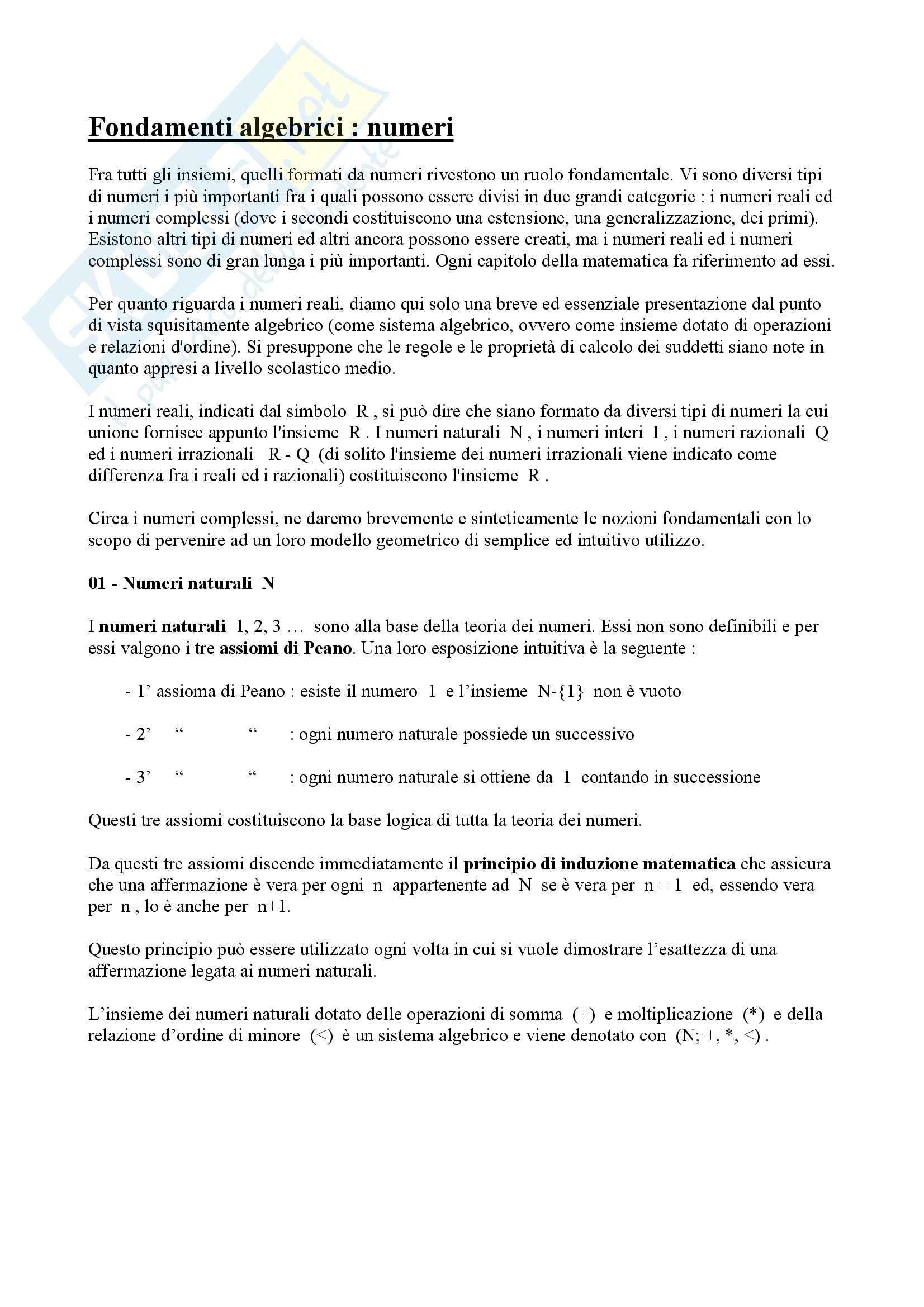 Matematica per le applicazioni I - numeri