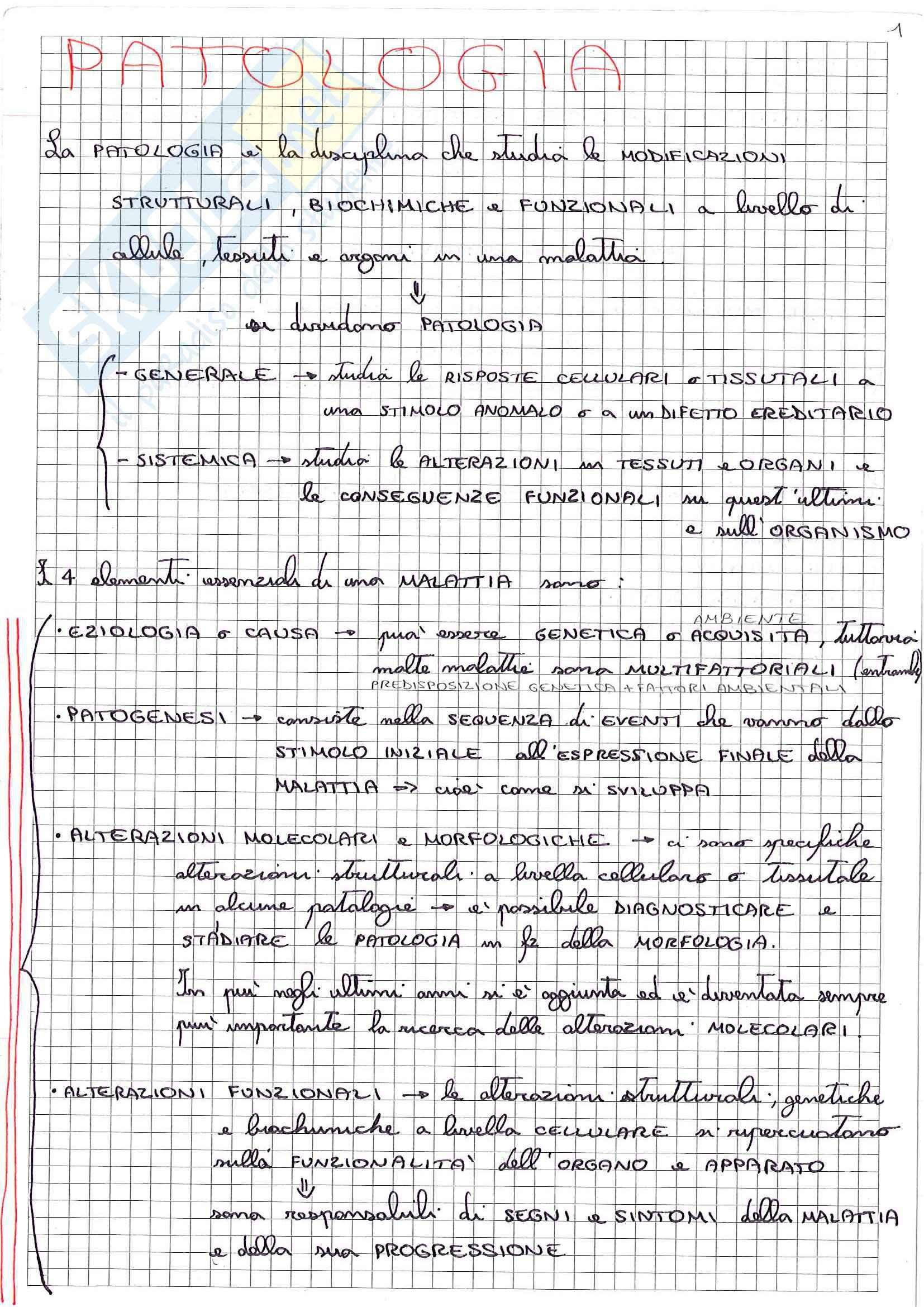 Riassunto esame Patologia, prof. Desiderio, libro consigliato Le basi patologiche delle malattie, Robbins , Cotran: parte 1