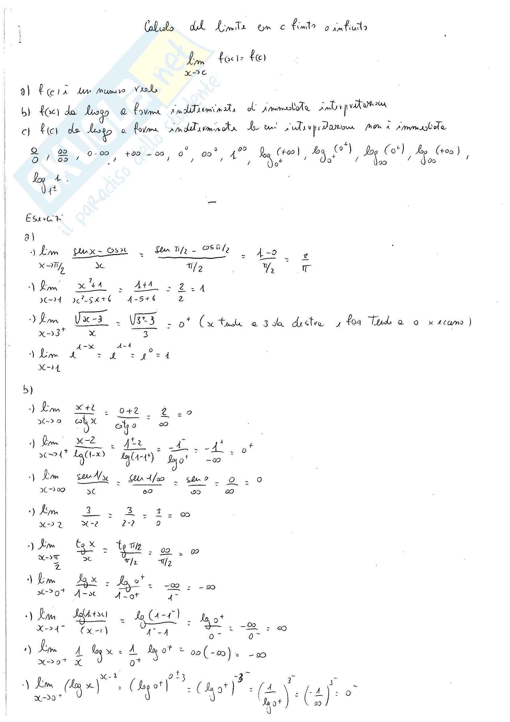 Limiti :Esercizi e prove d'esame per studenti d'Ingegneria
