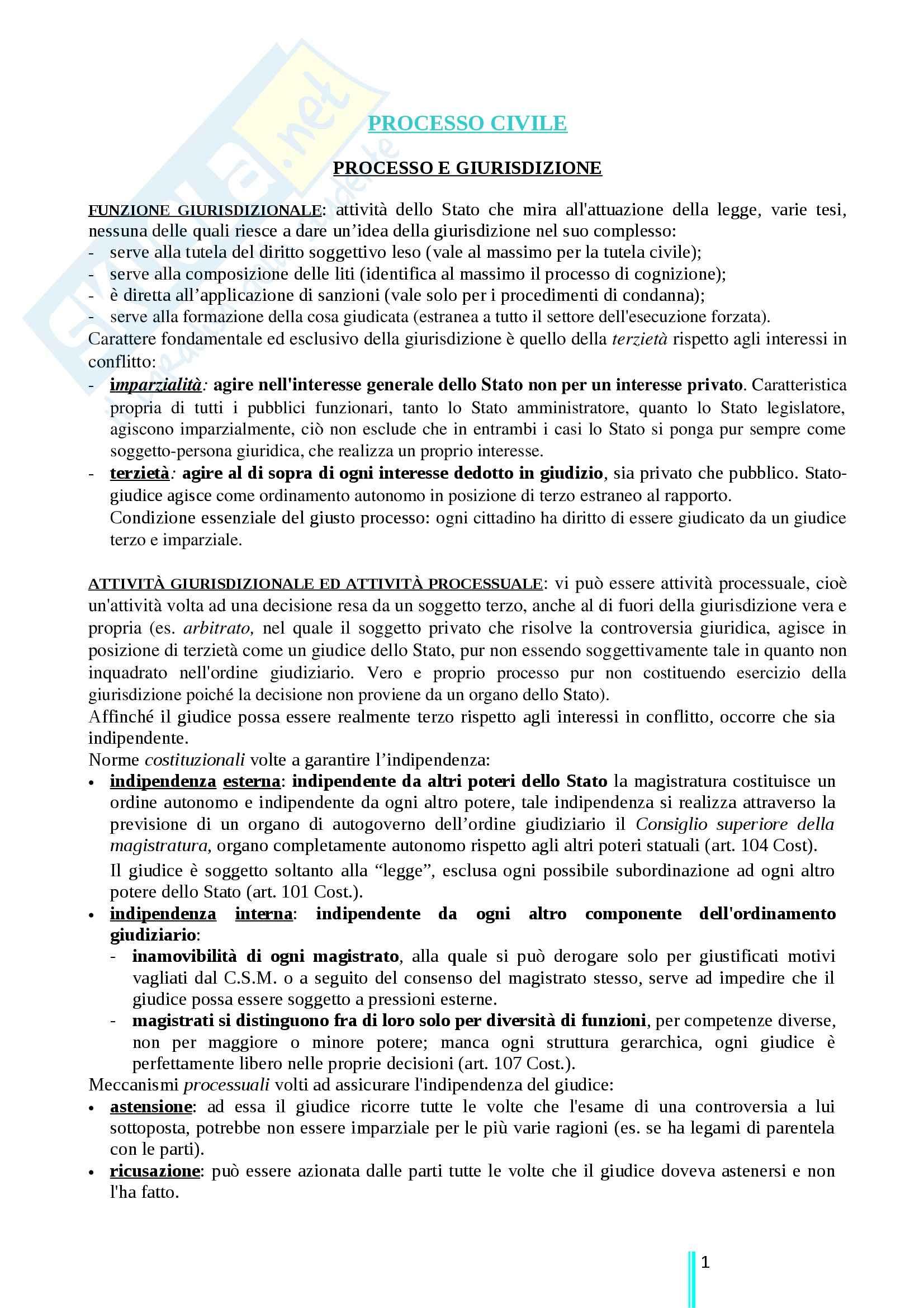 Riassunto esame Diritto processuale civile, prof. Ricci, libro consigliato Diritto processuale civile primo volume, Ricci