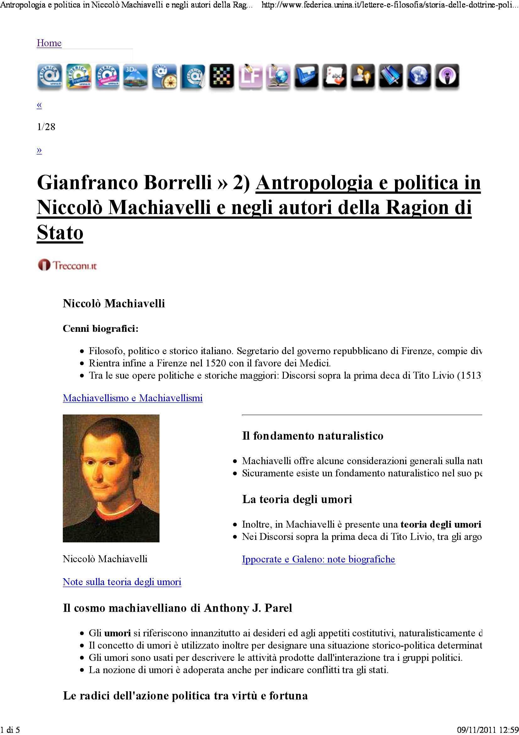 Antropologia e politica in Machiavelli