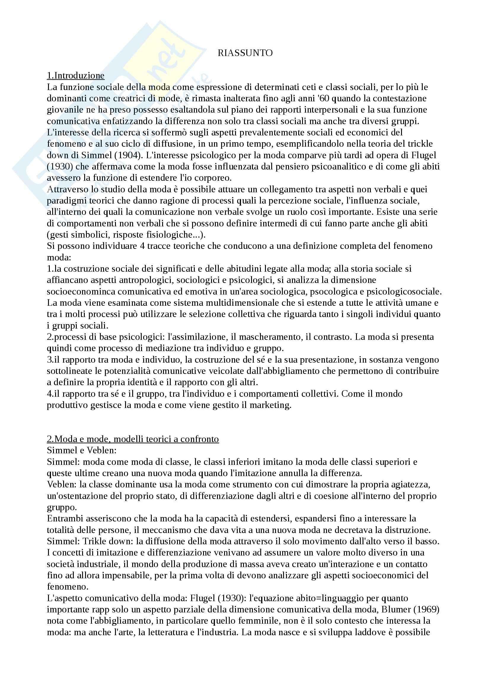 Riassunto esame Psicologia della comunicazione, prof. Caterina, libro consigliato Moda, relazioni sociali, comunicazione, Ricci Bitti