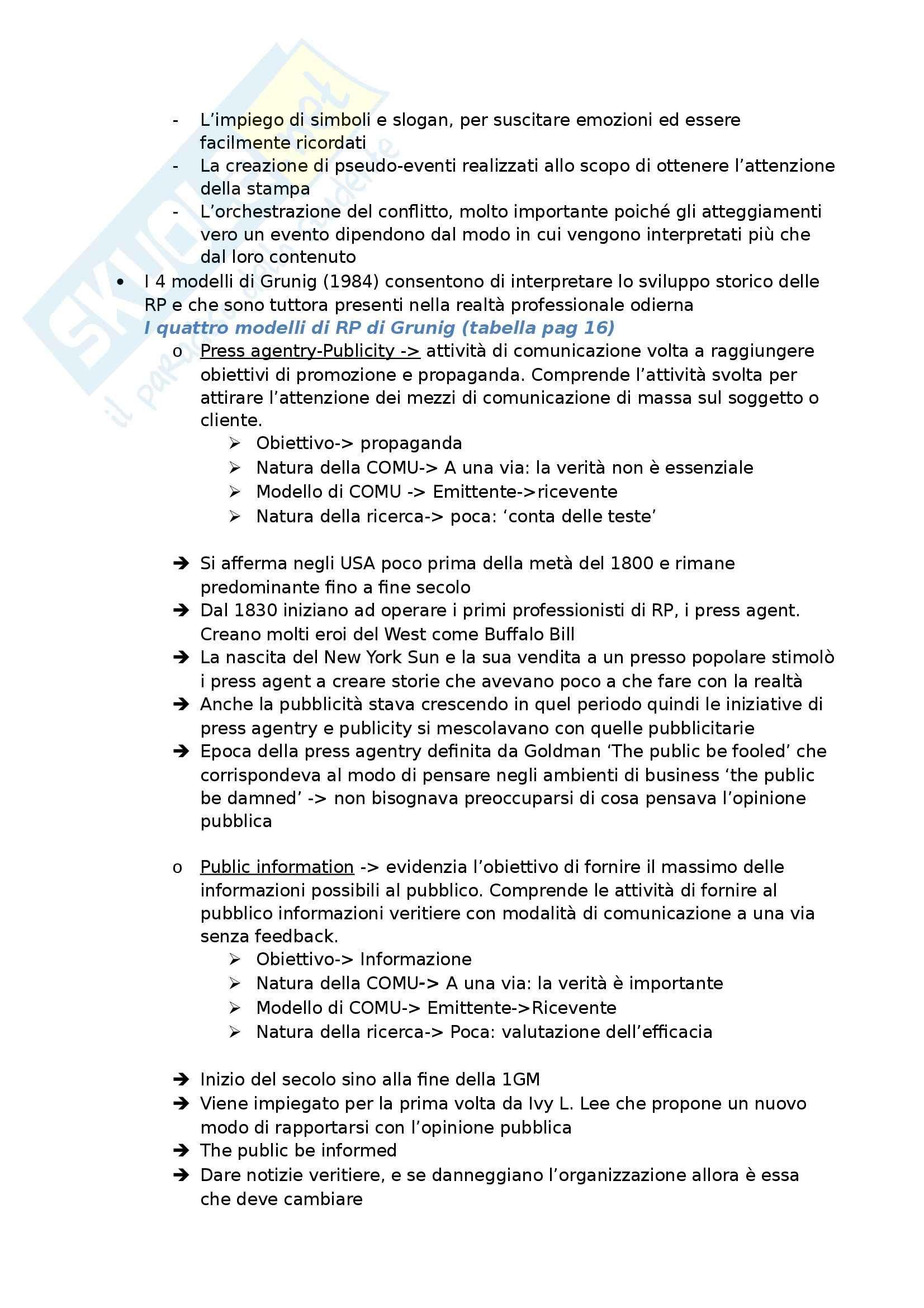 Riassunto esame Relazioni Pubbliche e Comunicazione d'Impresa, prof. Invernizzi, libro consigliato Le Tecniche e i Servizi di Base, Invernizzi Pag. 2