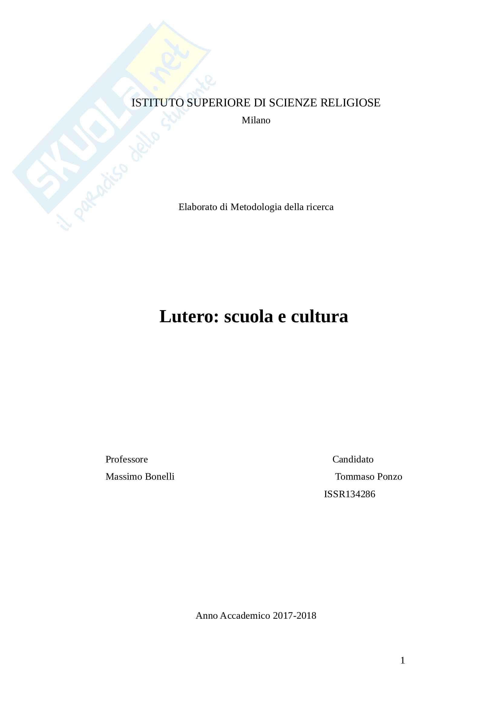 Tesi su Lutero: Lutero scuola e cultura