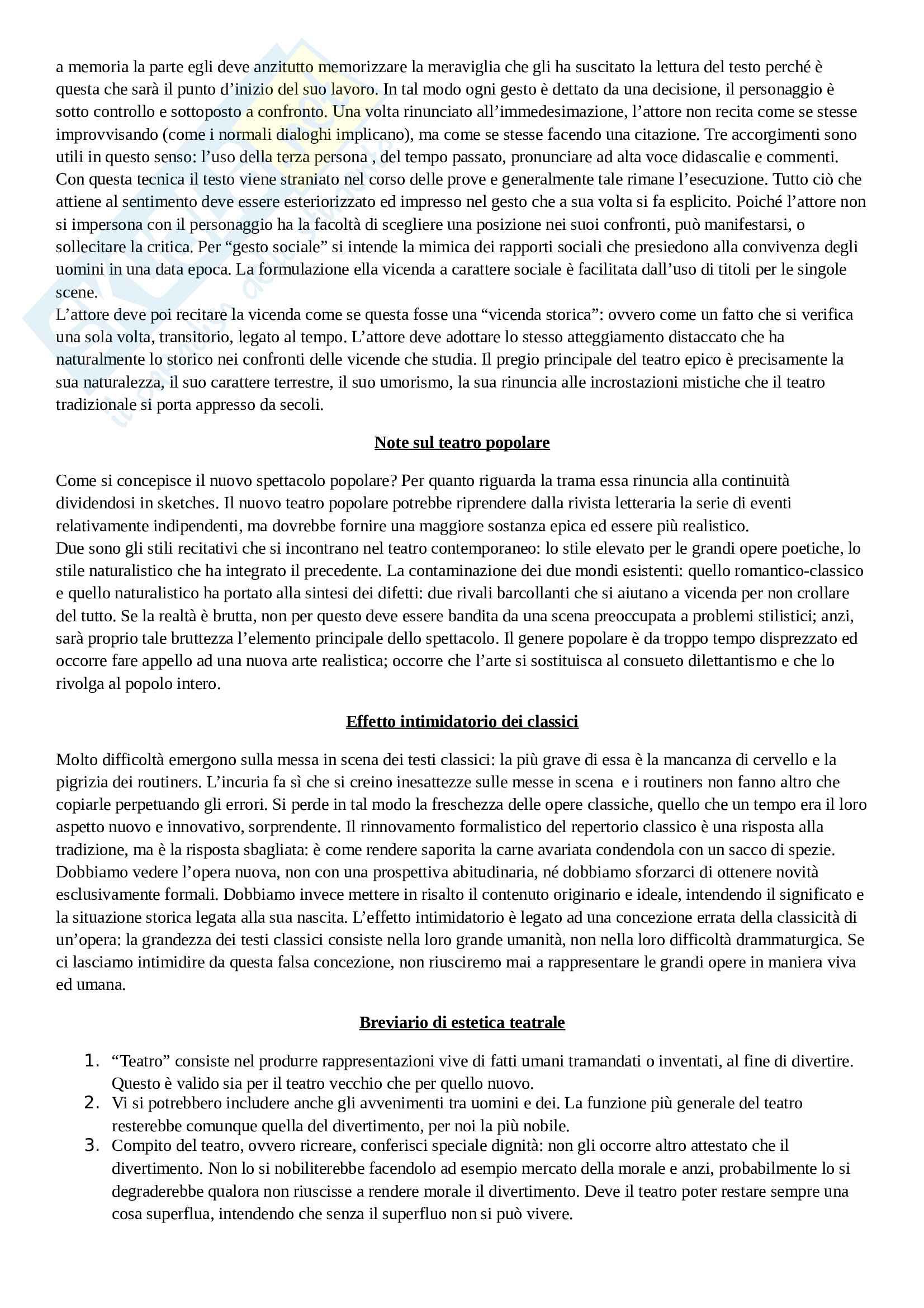 Riassunto esame Storia del teatro moderno e contemporaneo, prof. Guardenti, libro consigliato Scritti tetrali, Brecht Pag. 6