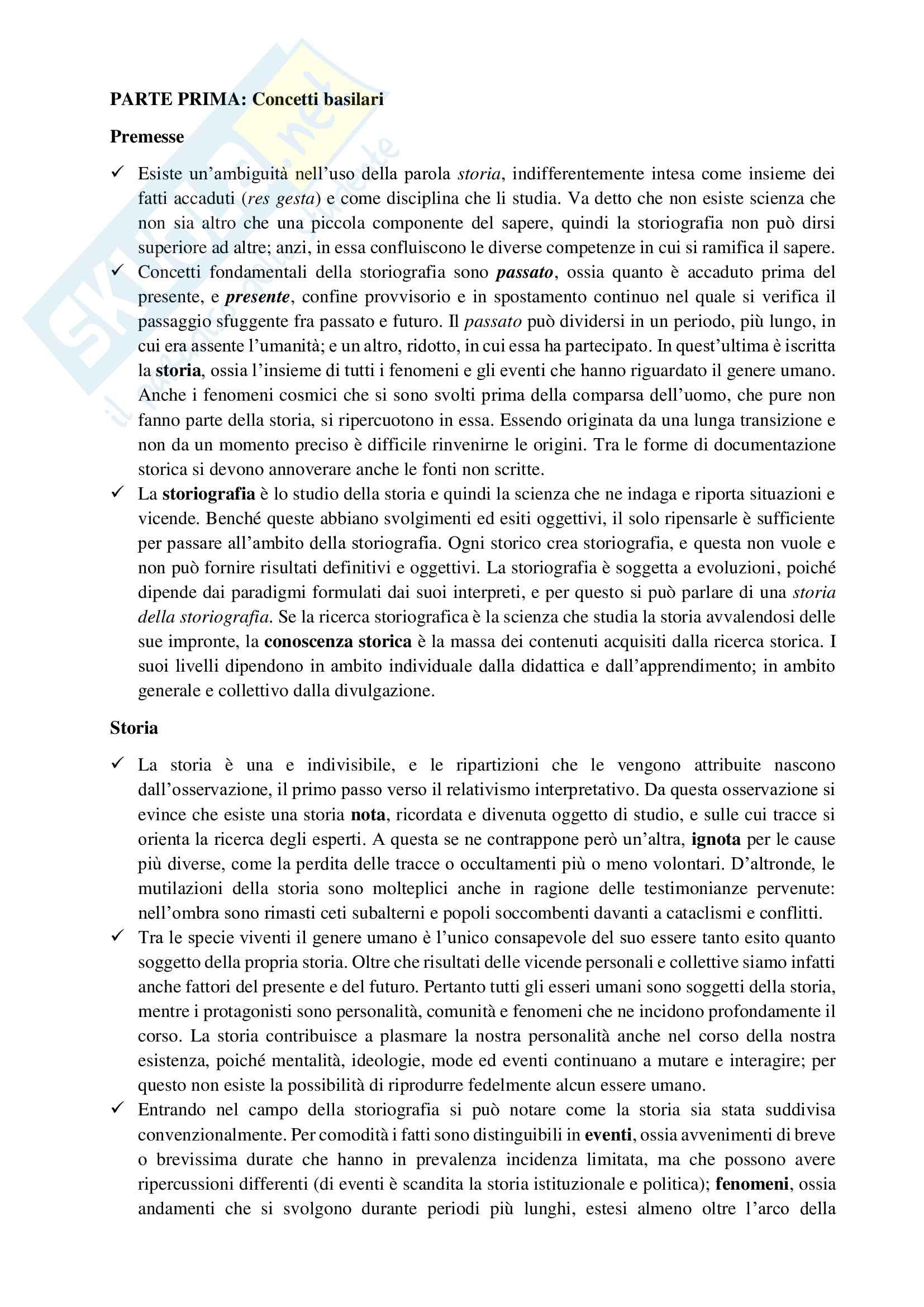 Riassunto esame Storia moderna 1, prof Bazzano, libro consigliato Per entrare nella storia. Guida allo studio, Dondarini
