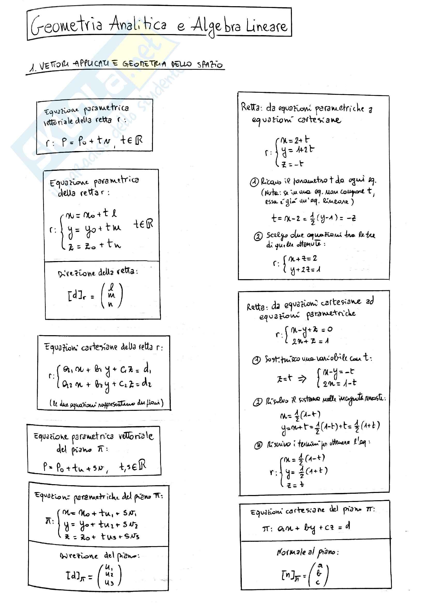 Riassunto di Geometria e Algebra Lineare