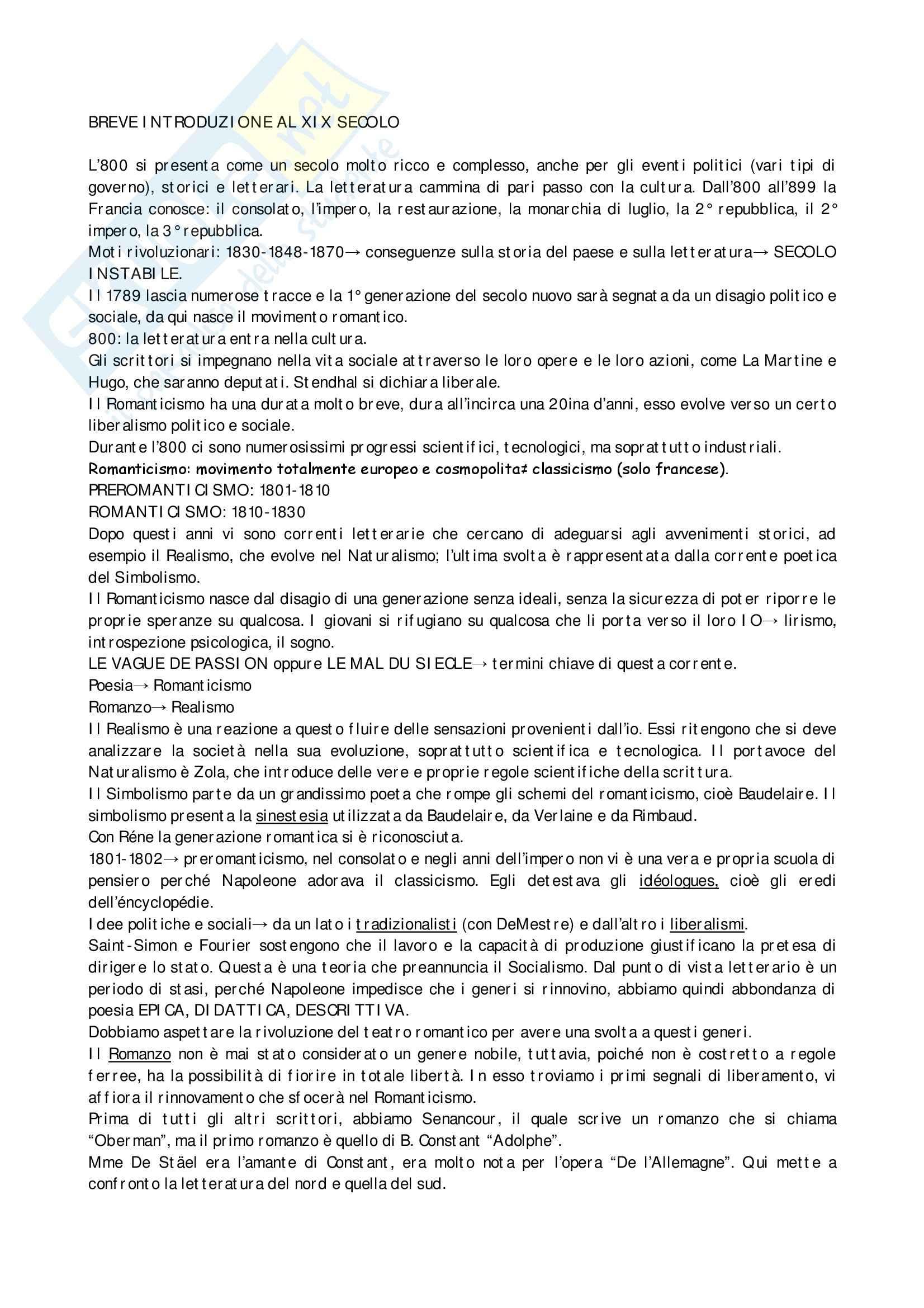 Letteratura francese 800-900 - Appunti