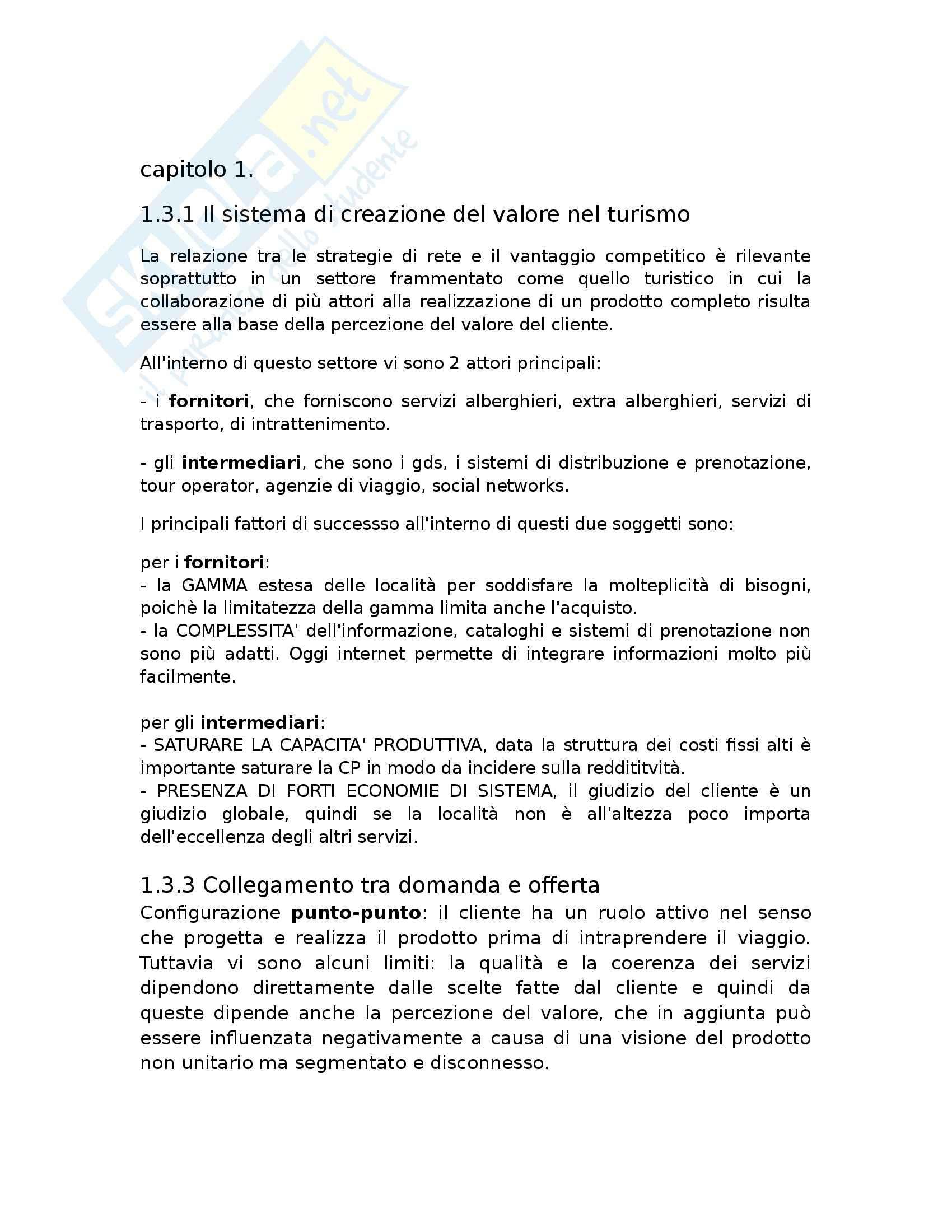 Riassunto esame Economia aziendale, prof. De Carlo, libro consigliato La co-creazione del valore nel turismo