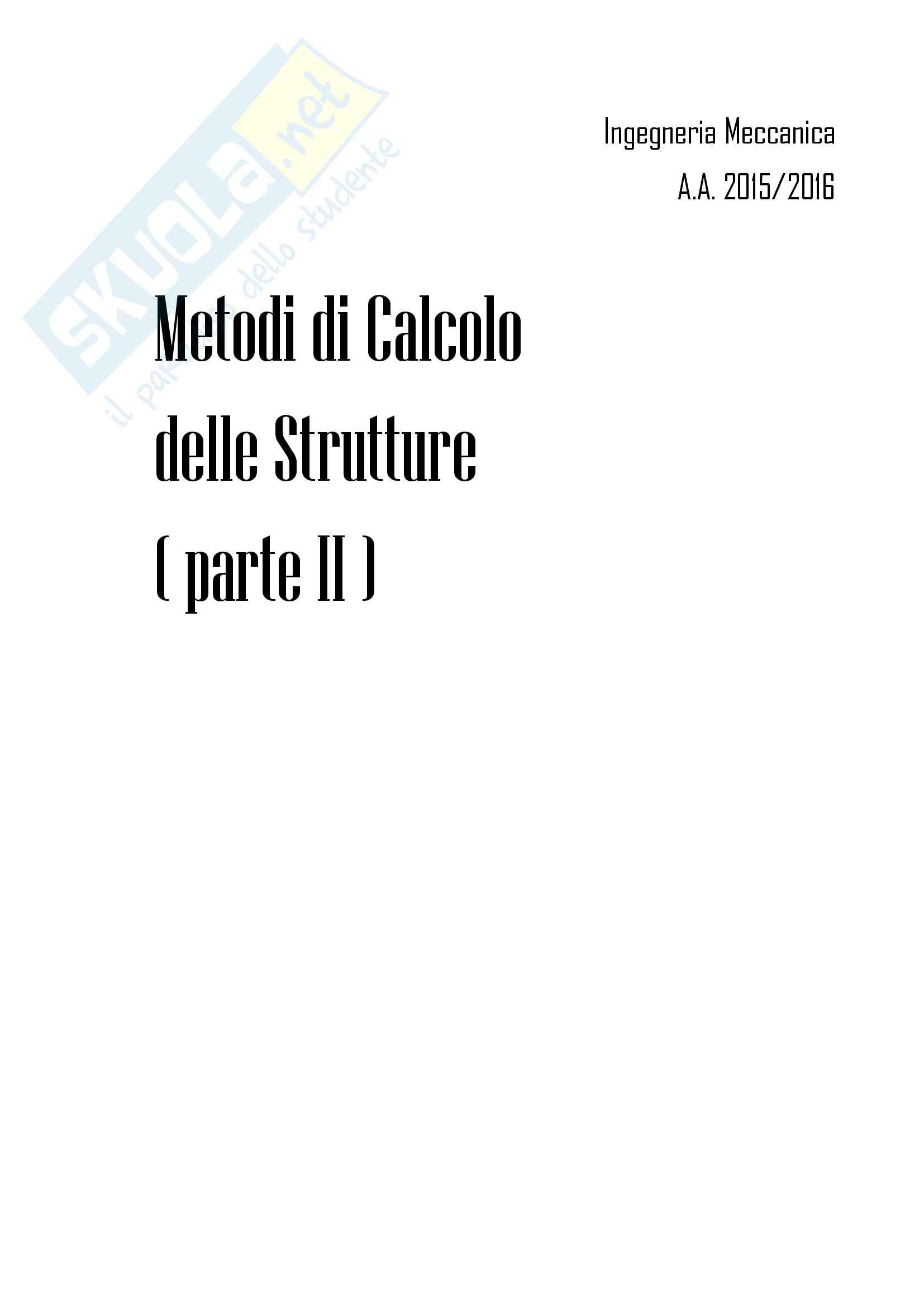 Metodi di Calcolo delle Strutture - Parte 2
