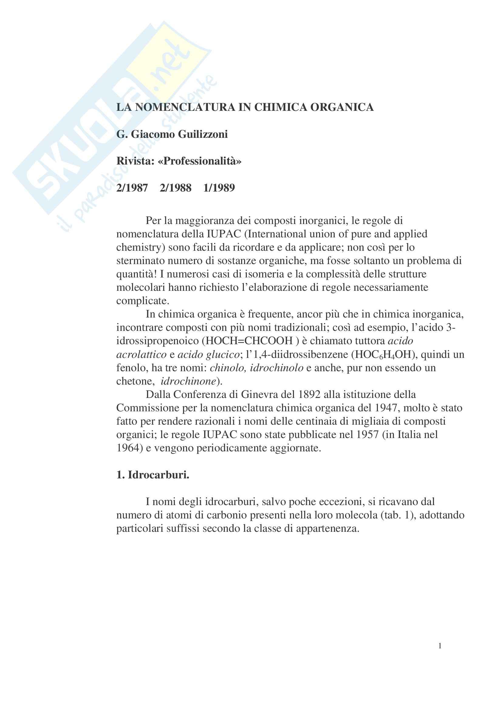 Chimica organica - nomenclatura Pag. 1