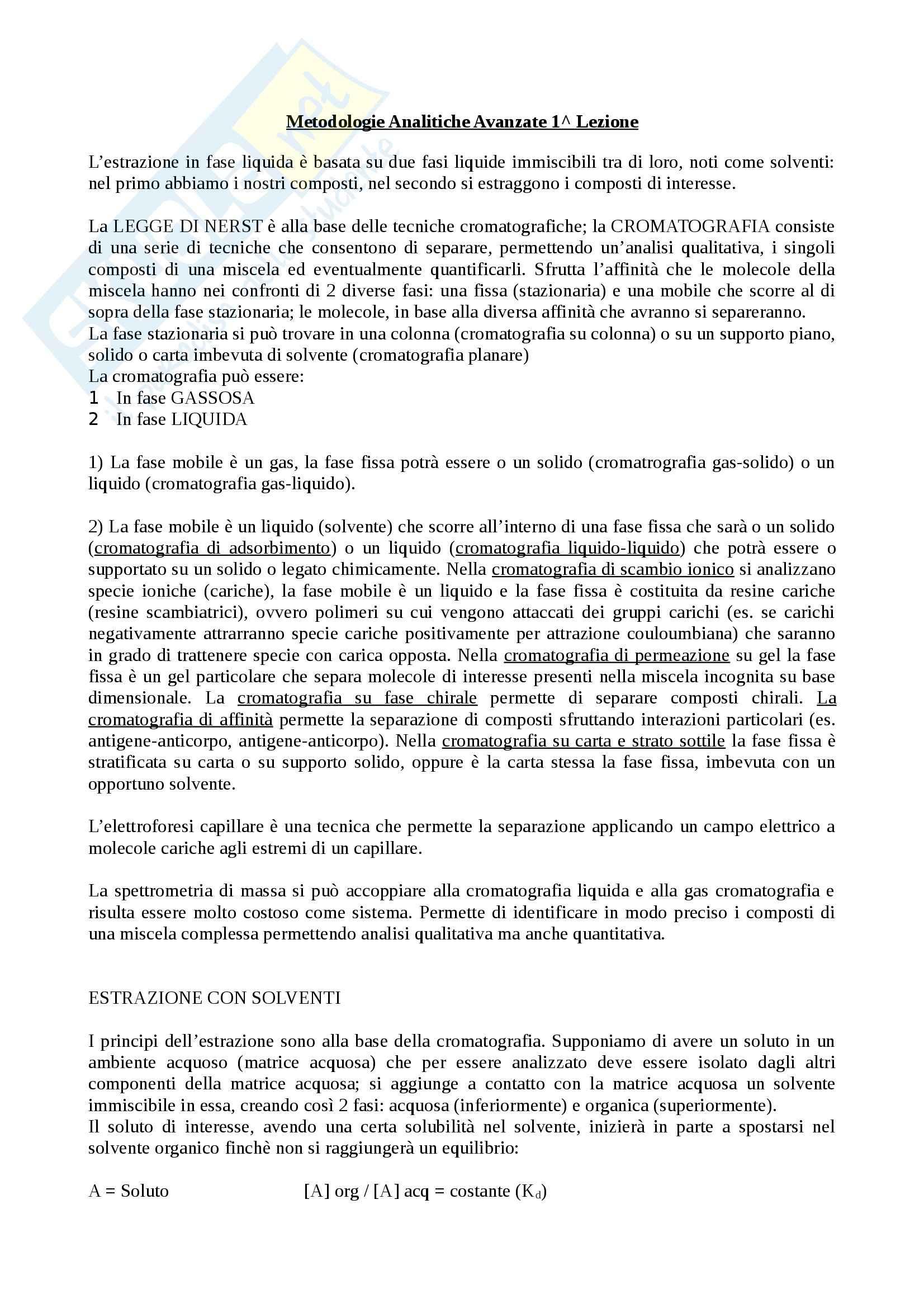 appunto F. Buiarelli Metodologie Analitiche Avanzate