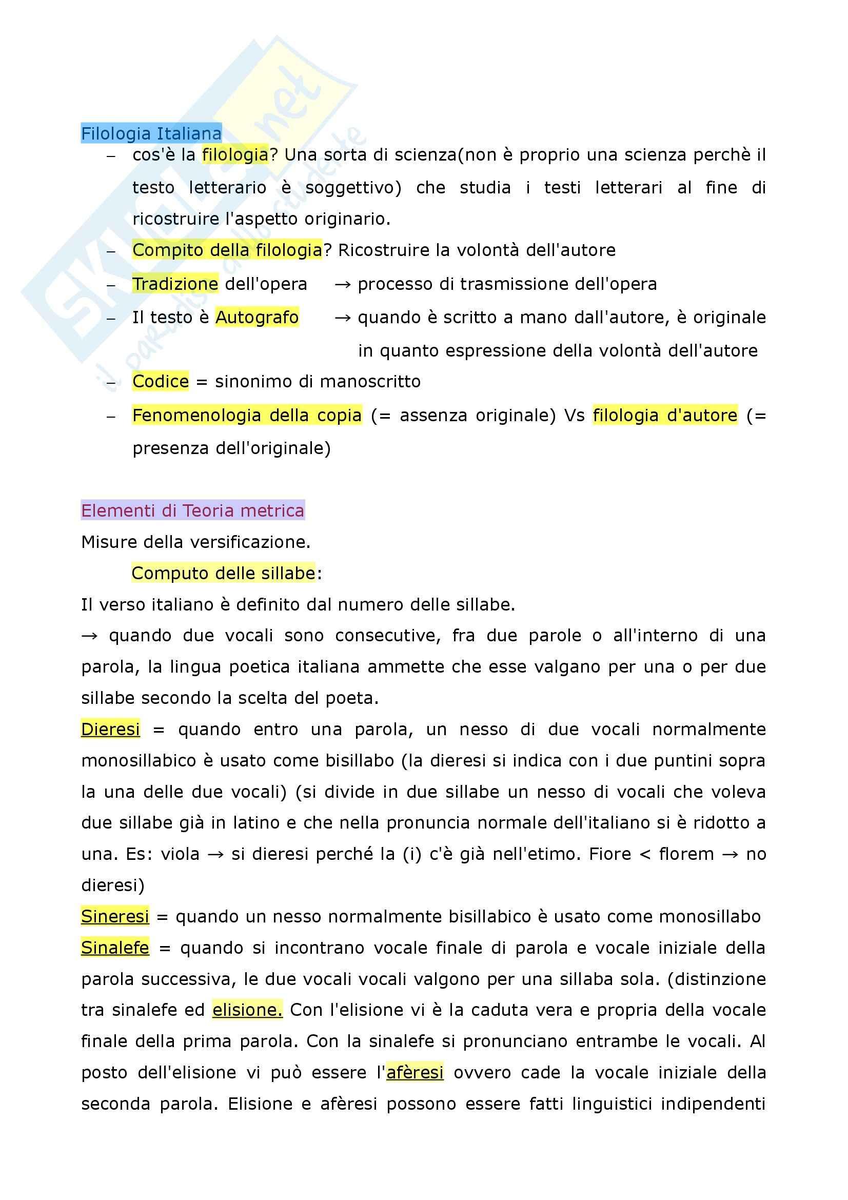 Riassunto esame Filologia italiana, La Metrica italiana, Beltrami, prof. Pancheri