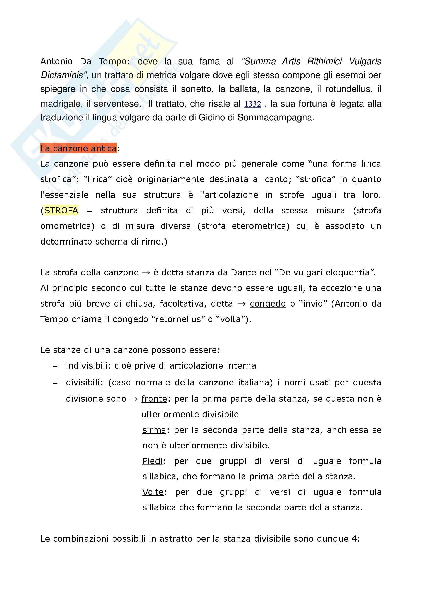 Riassunto esame Filologia italiana, La Metrica italiana, Beltrami, prof. Pancheri Pag. 11