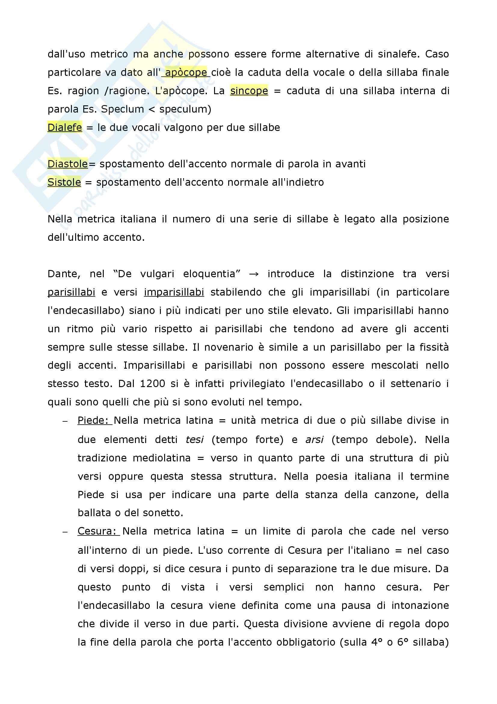 Riassunto esame Filologia italiana, La Metrica italiana, Beltrami, prof. Pancheri Pag. 2