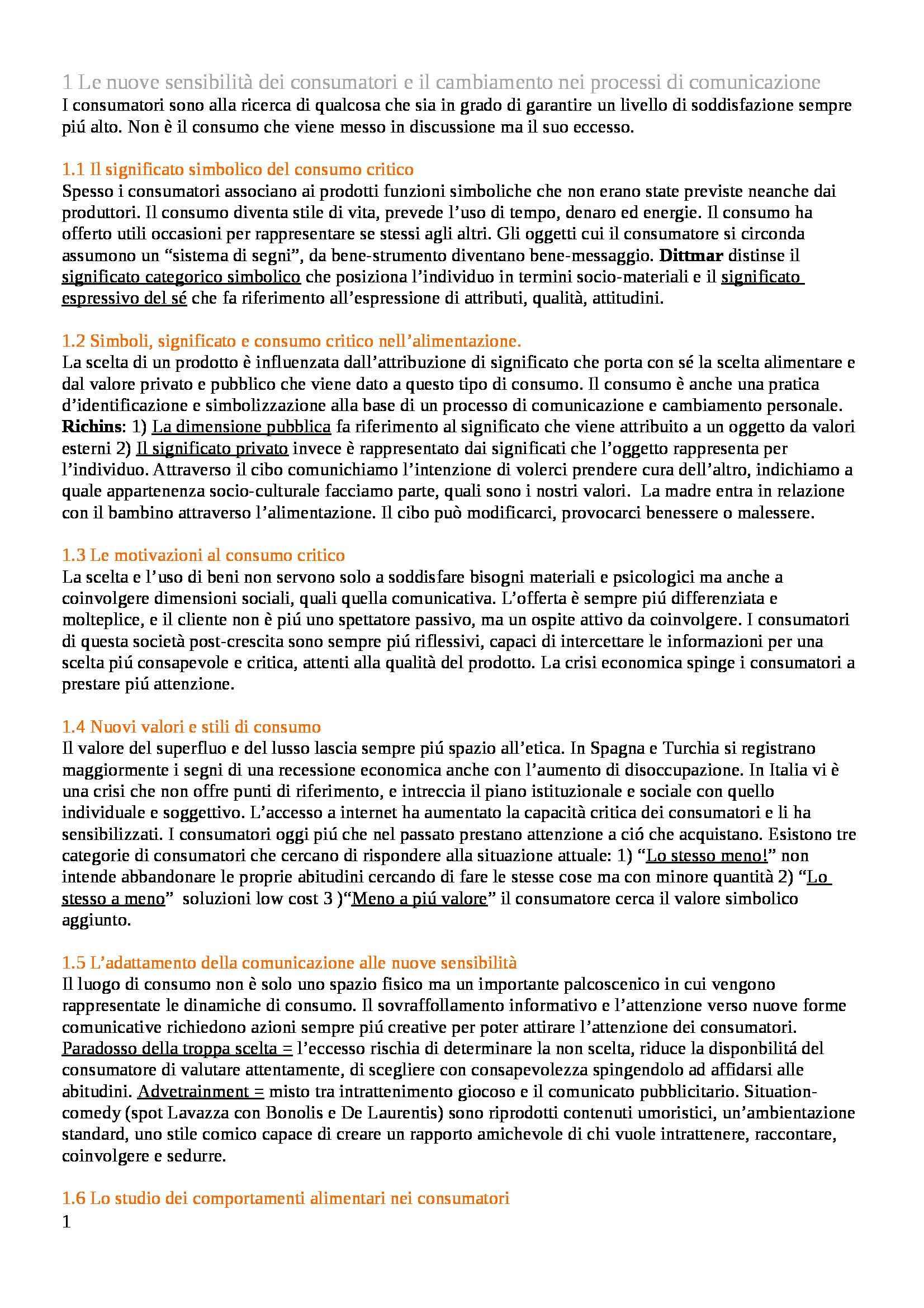 Riassunto esame Psicologia della Comunicazione Audiovisiva, prof. Russo, libro consigliato Consumo Critico, Alimentazione e Comunicazione