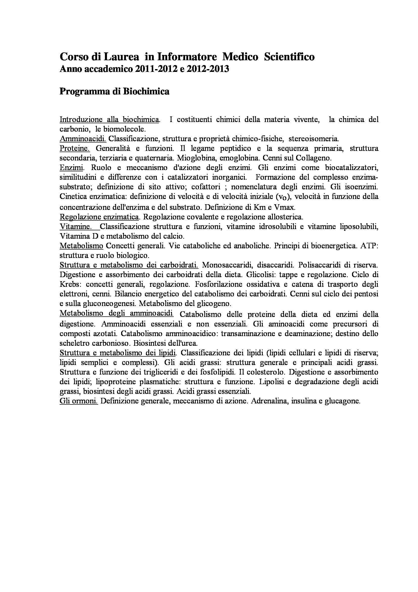 appunto I. Vitale Biochimica