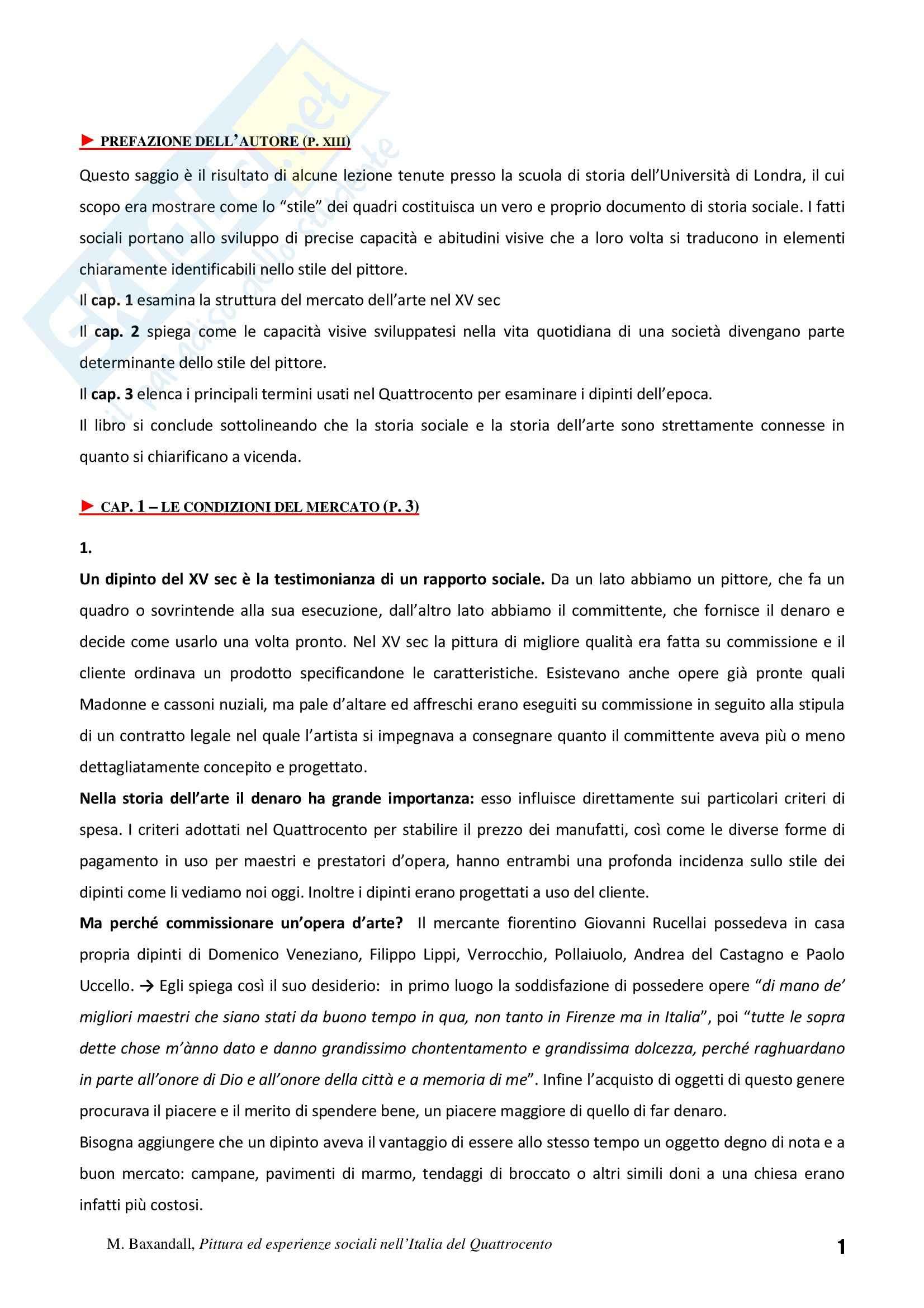 Riassunto esame Storia dell'Arte Fiamminga, prof. Brezzi, libro consigliato Pittura ed Esperienze Sociali nell'Italia del Quattrocento, Baxandall