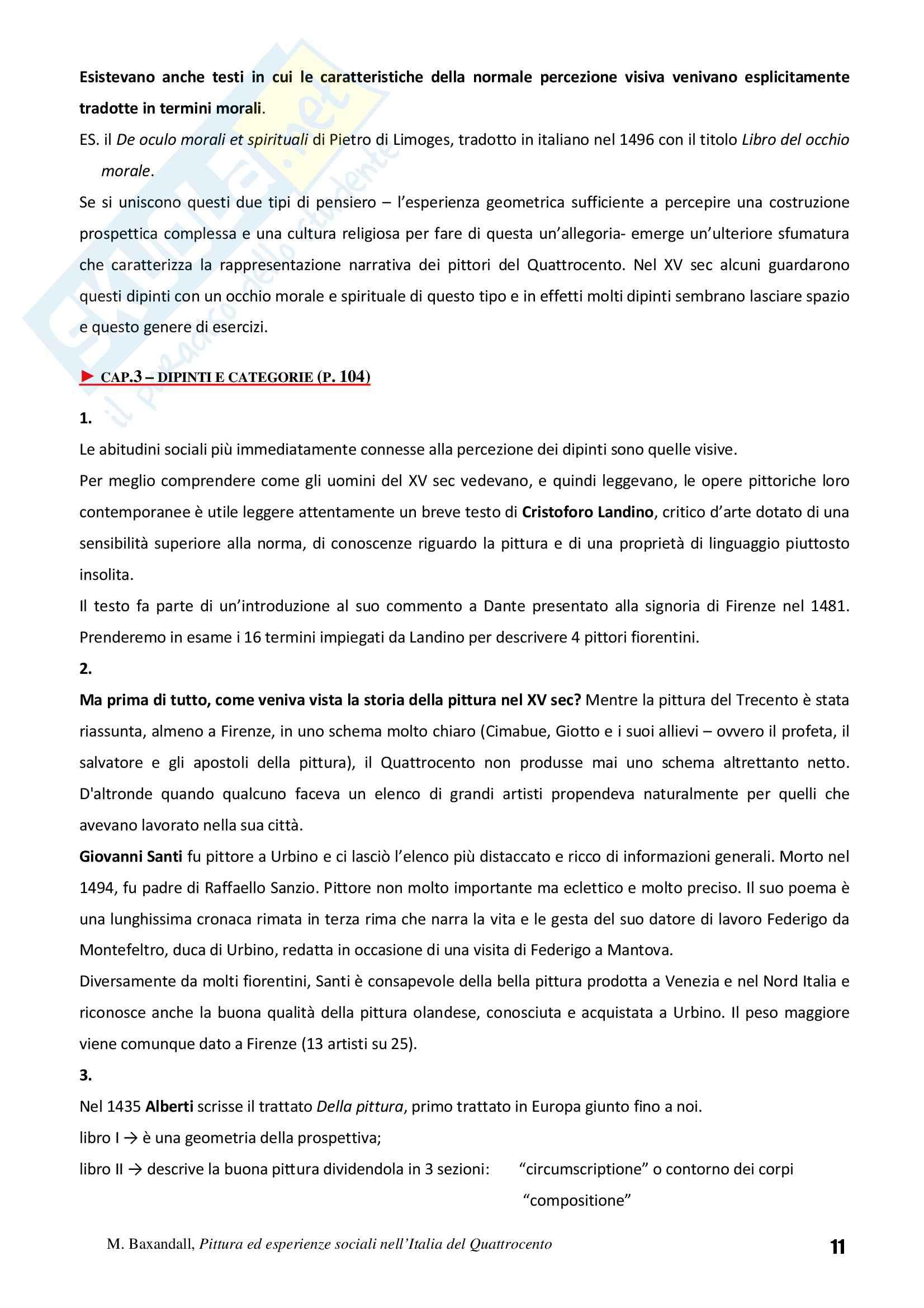 Riassunto esame Storia dell'Arte Fiamminga, prof. Brezzi, libro consigliato Pittura ed Esperienze Sociali nell'Italia del Quattrocento, Baxandall Pag. 11