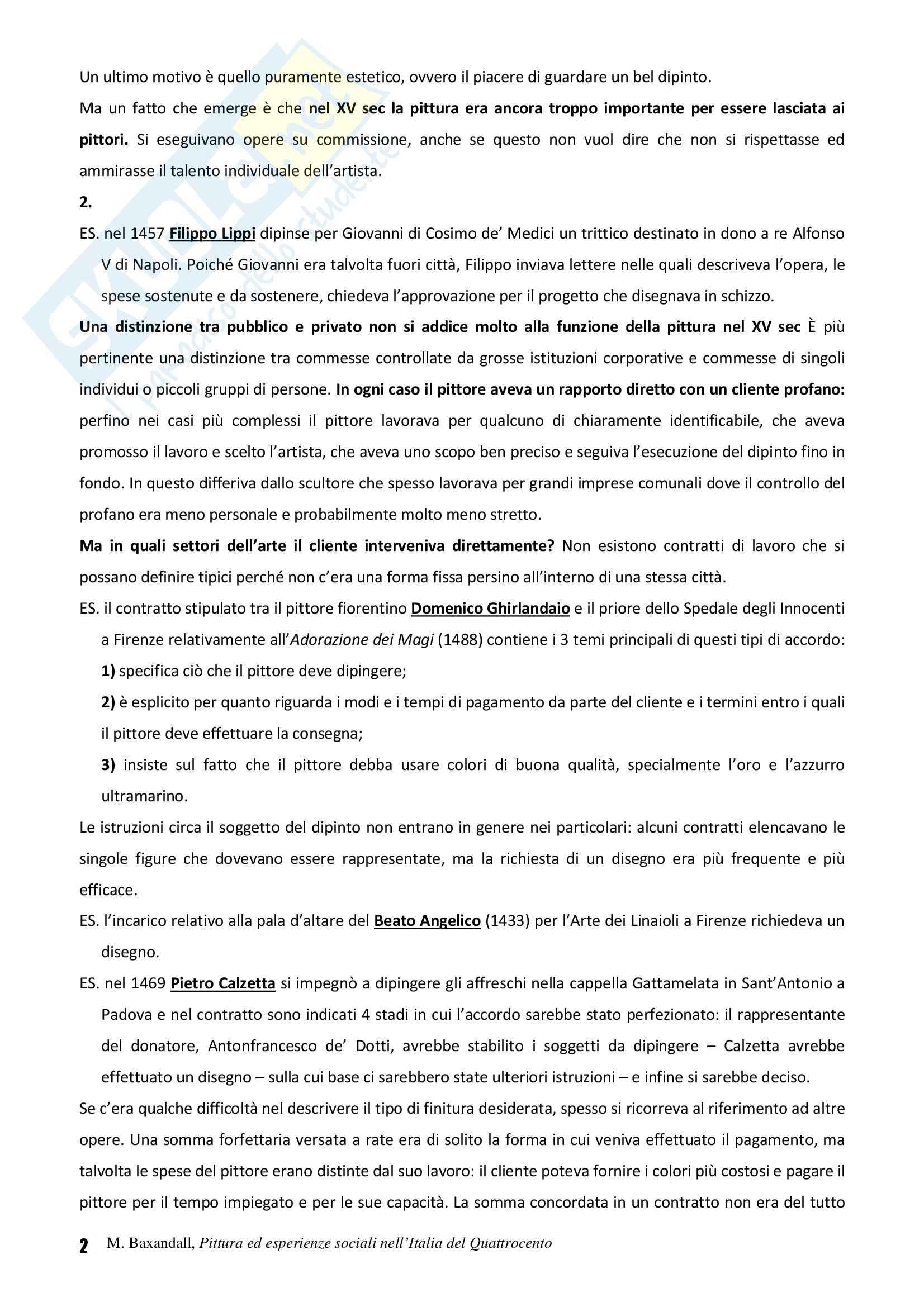 Riassunto esame Storia dell'Arte Fiamminga, prof. Brezzi, libro consigliato Pittura ed Esperienze Sociali nell'Italia del Quattrocento, Baxandall Pag. 2