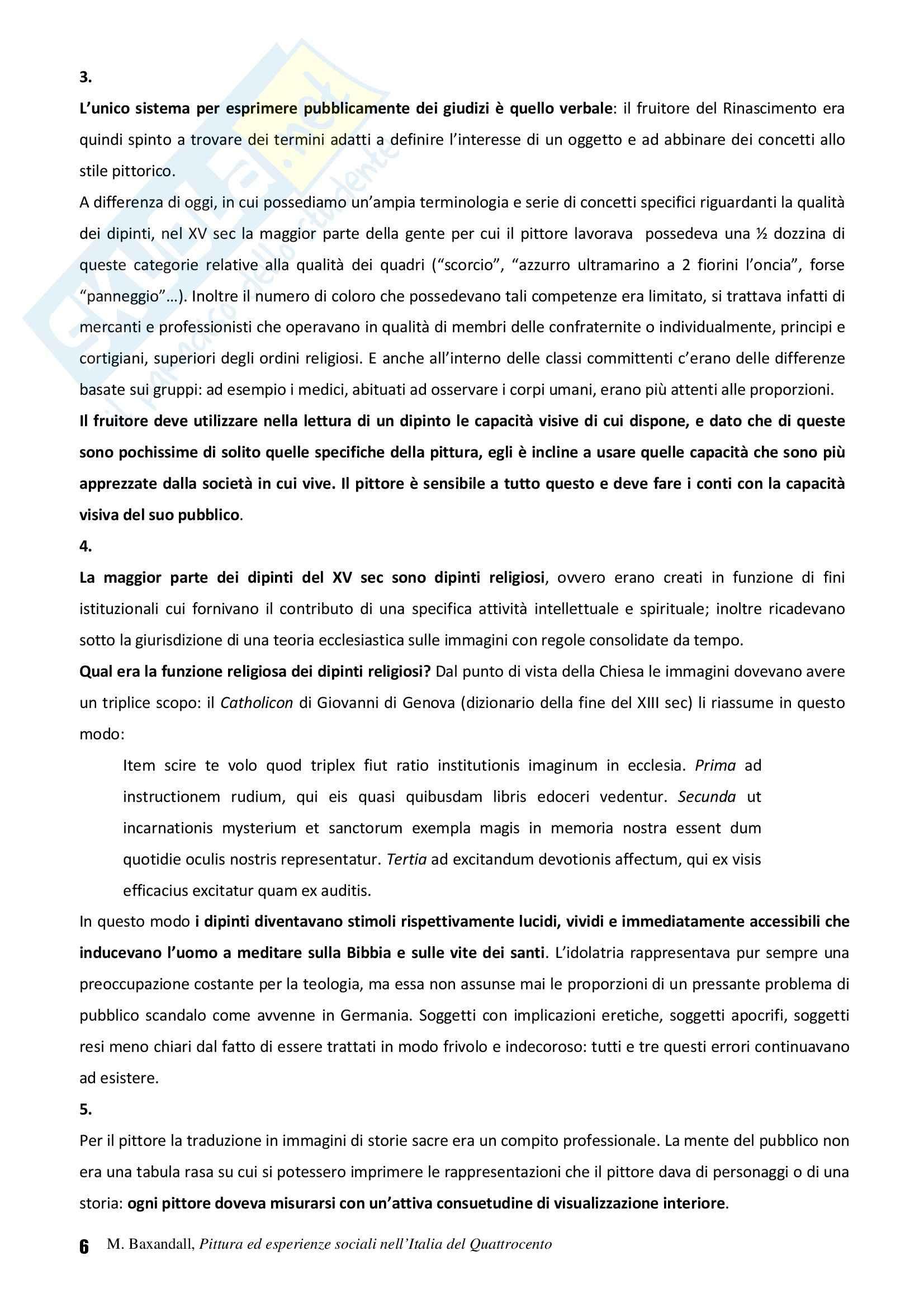 Riassunto esame Storia dell'Arte Fiamminga, prof. Brezzi, libro consigliato Pittura ed Esperienze Sociali nell'Italia del Quattrocento, Baxandall Pag. 6