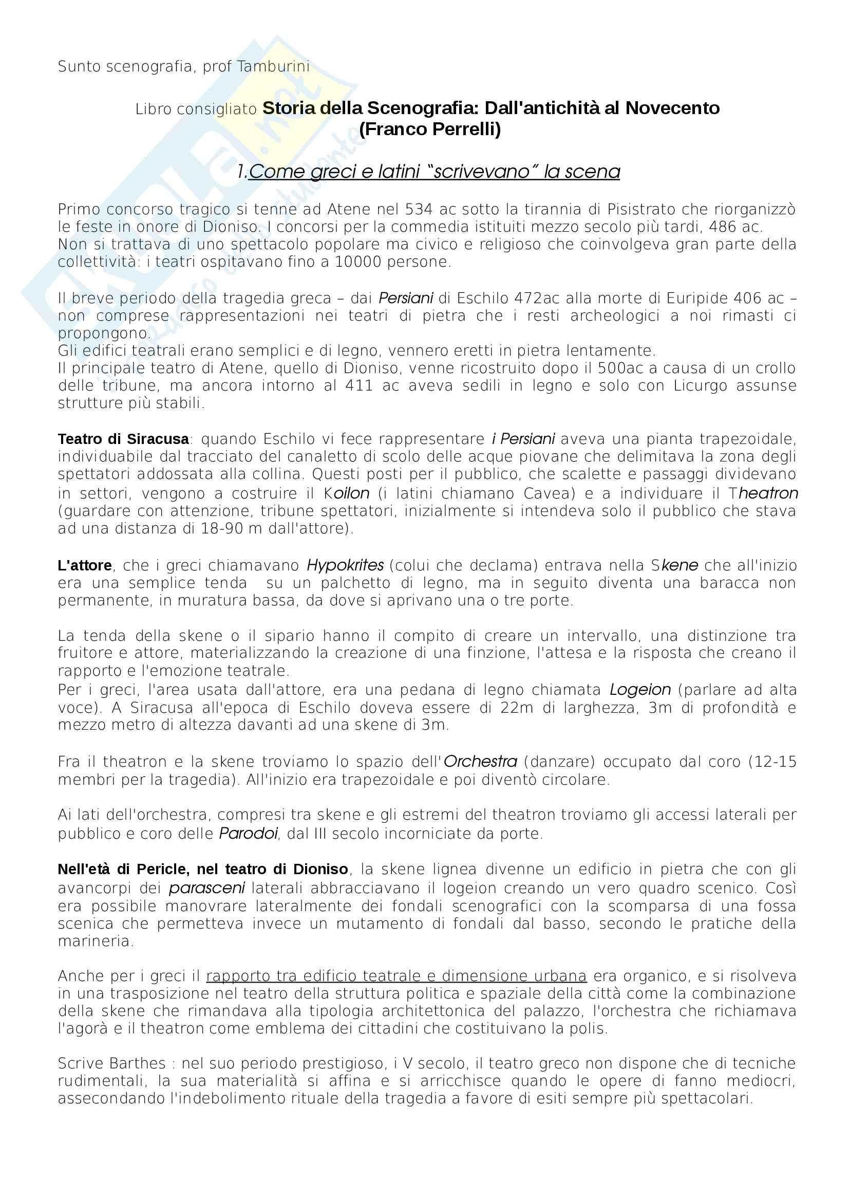 Riassunto esame scenografia, prof. Tamburini, libro consigliato Storia della Scenografia, dall'antichità al XXI Secolo, Perrelli