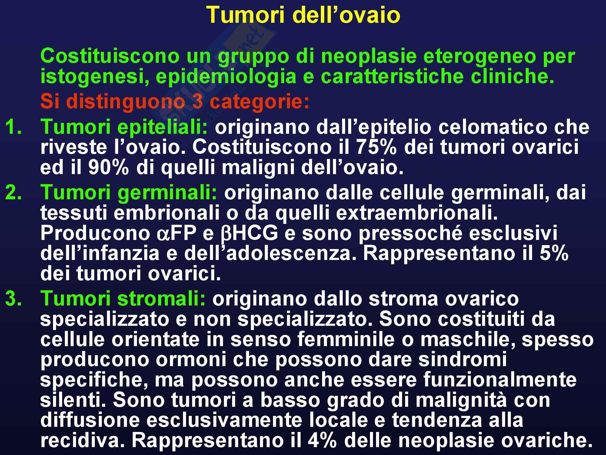 Oncologia medica - Tumori ovarici